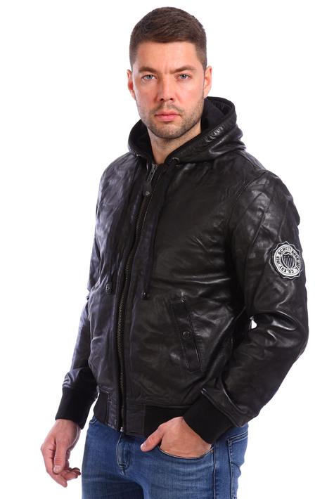 Кожаная куртка мужская короткая с капюшоном купить