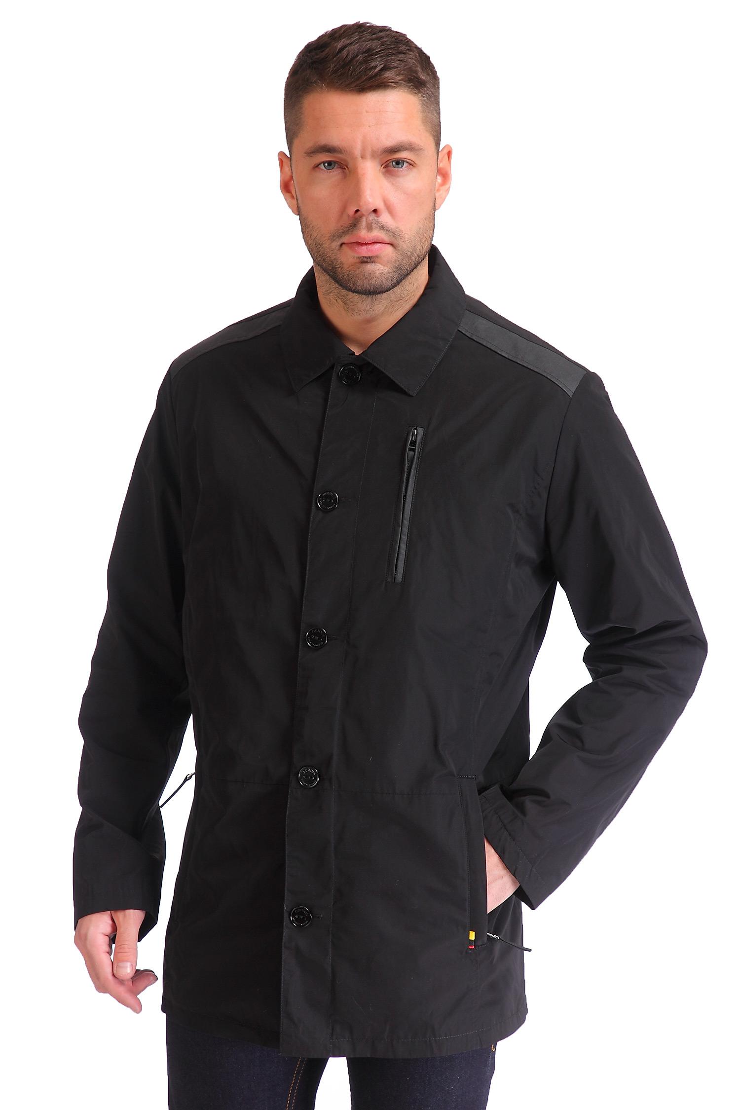 Мужская куртка из текстиля с воротником, отделка искусственная кожа