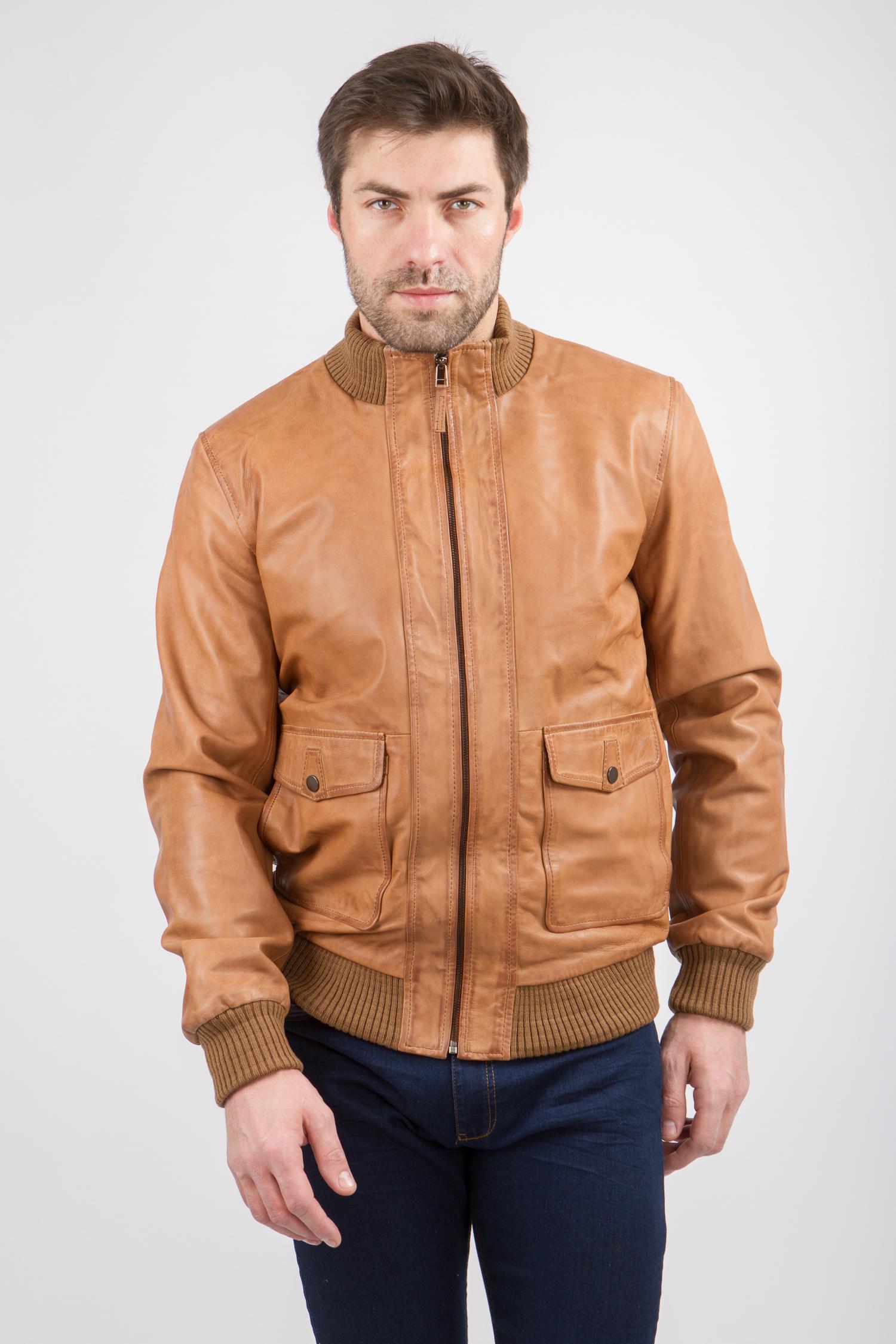4de58c6ee86 Мужская кожаная куртка из натуральной кожи с воротником