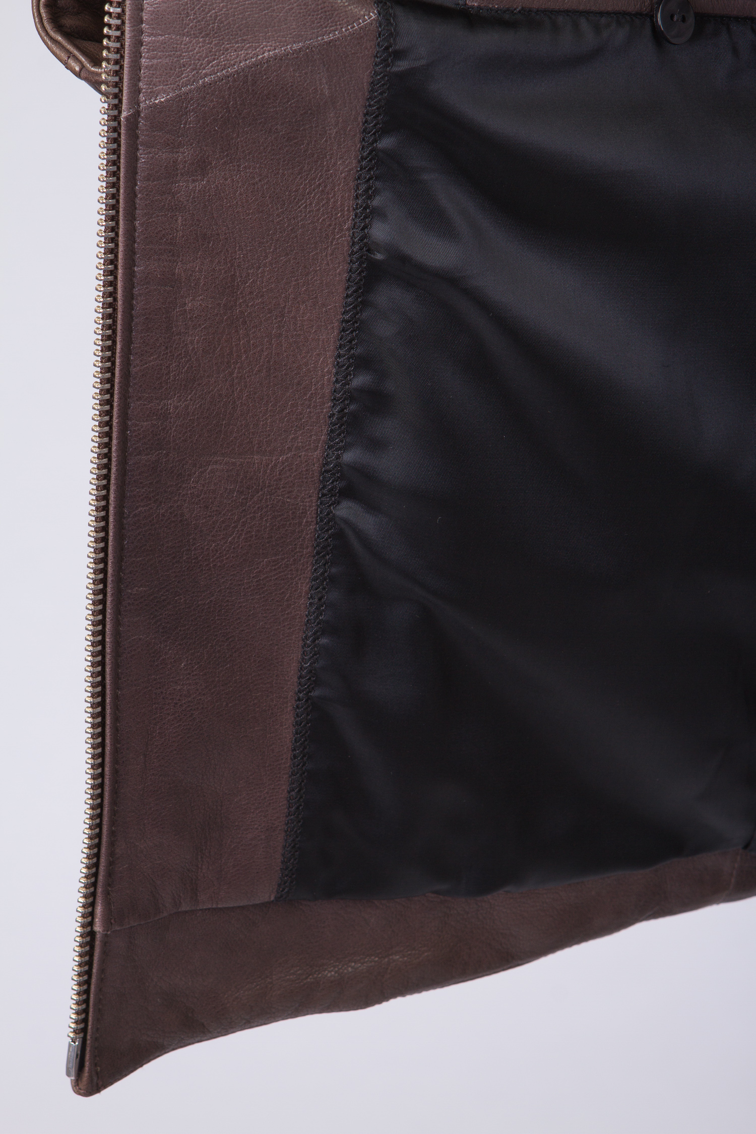 Мужская кожаная куртка из натуральной замши и кожи с воротником, без отделки