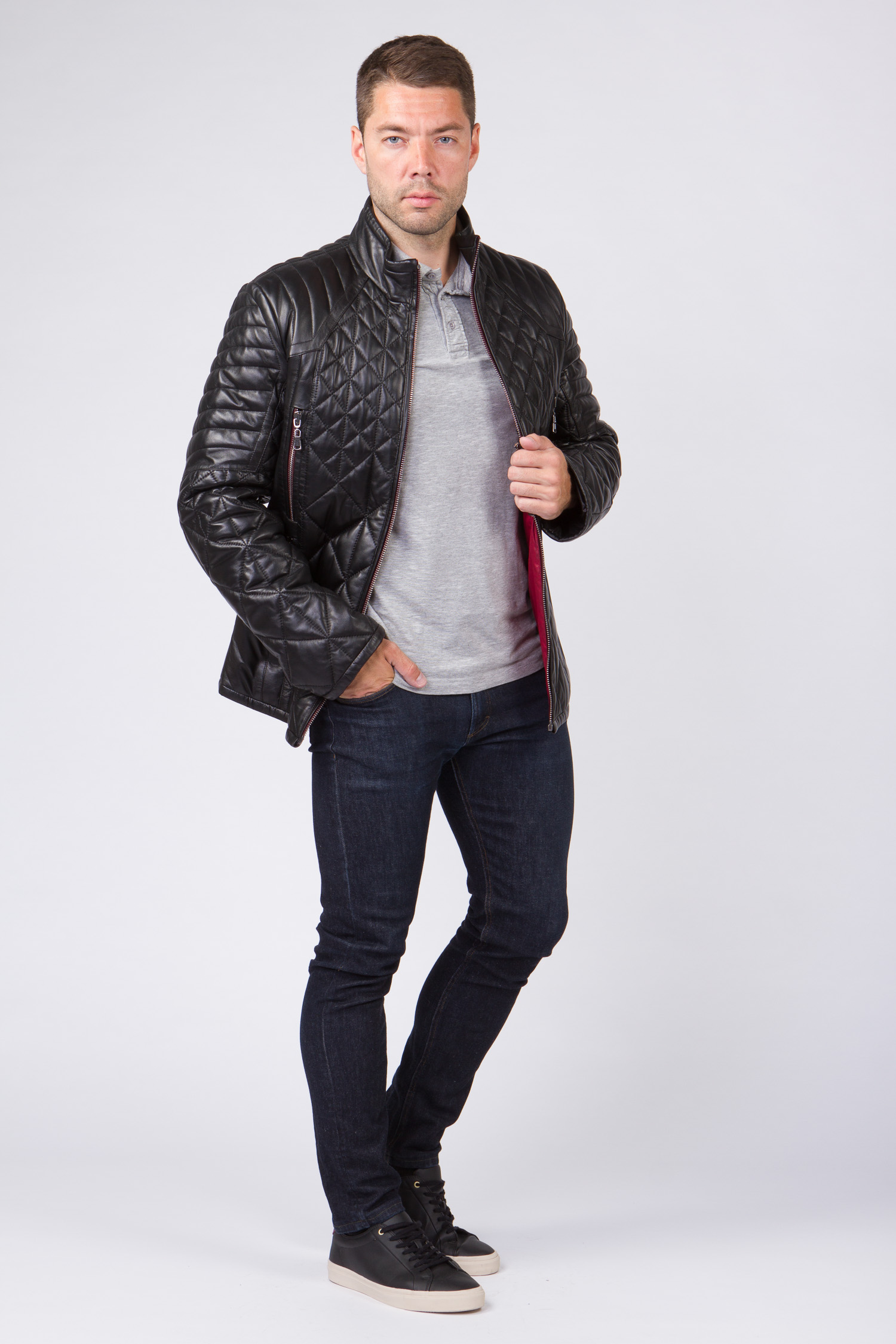 Мужская кожаная куртка из натуральной кожи с воротником, без отделки