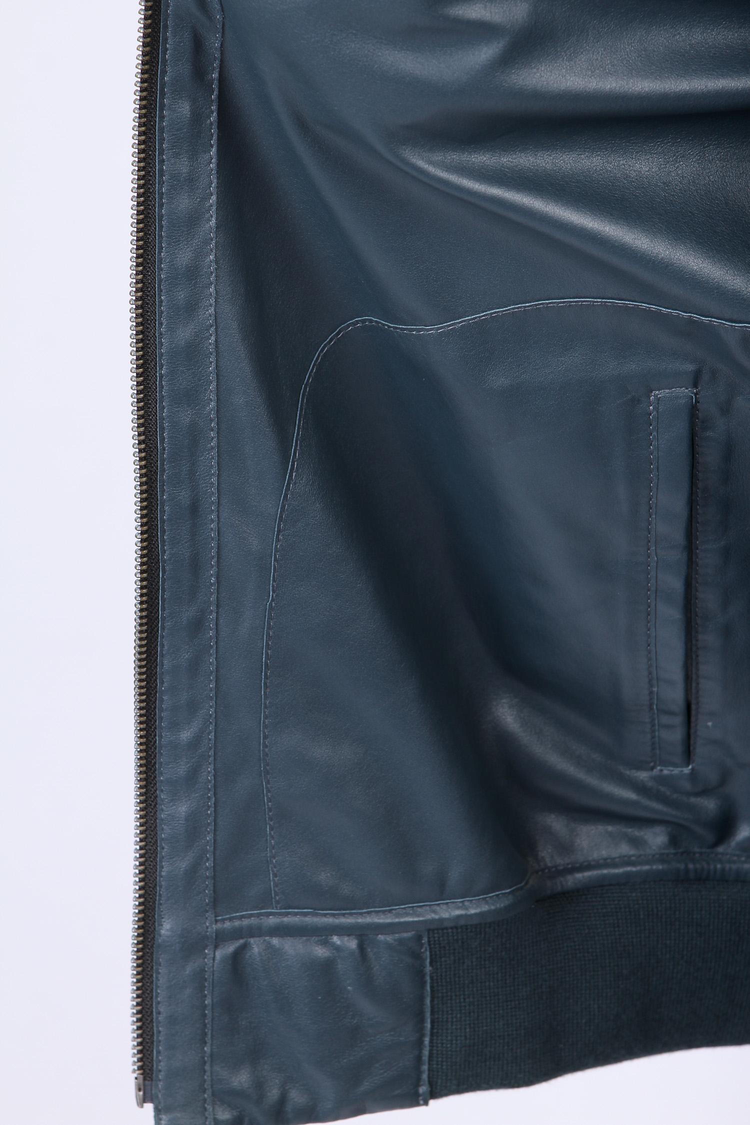 Мужская кожаная куртка из натуральной замши с воротником, без отделки