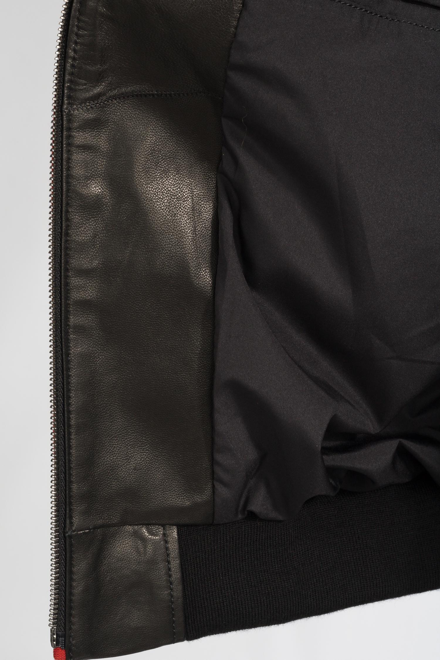 Мужская кожаная куртка из натуральной кожи с капюшоном, отделка трикотаж