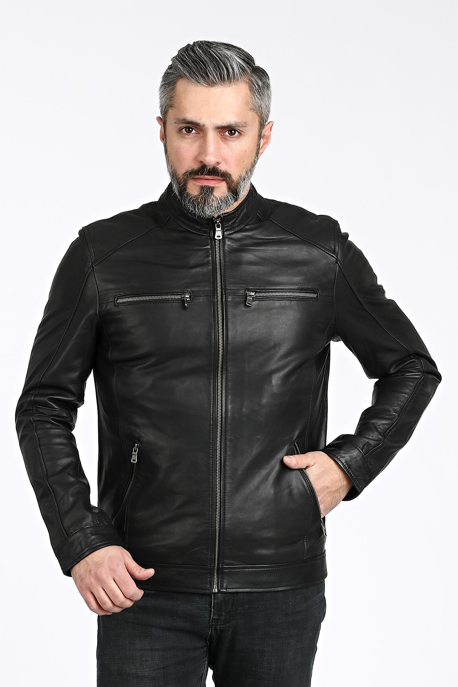 Мужская кожаная куртка из натуральной овчины с воротником, без отделки МОСМЕХА