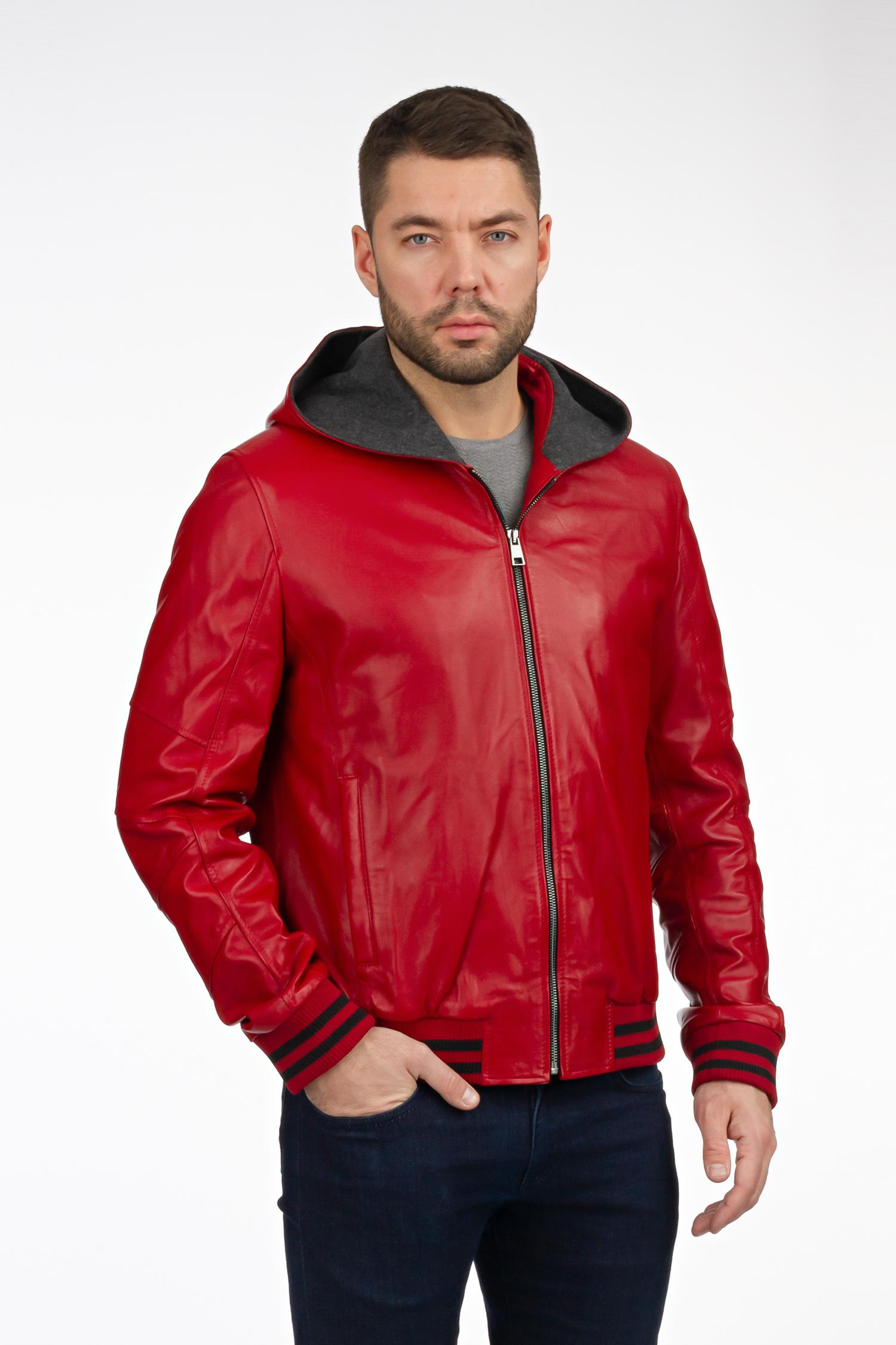 Мужская кожаная куртка из натуральной кожи с капюшоном, без отделки МОСМЕХА