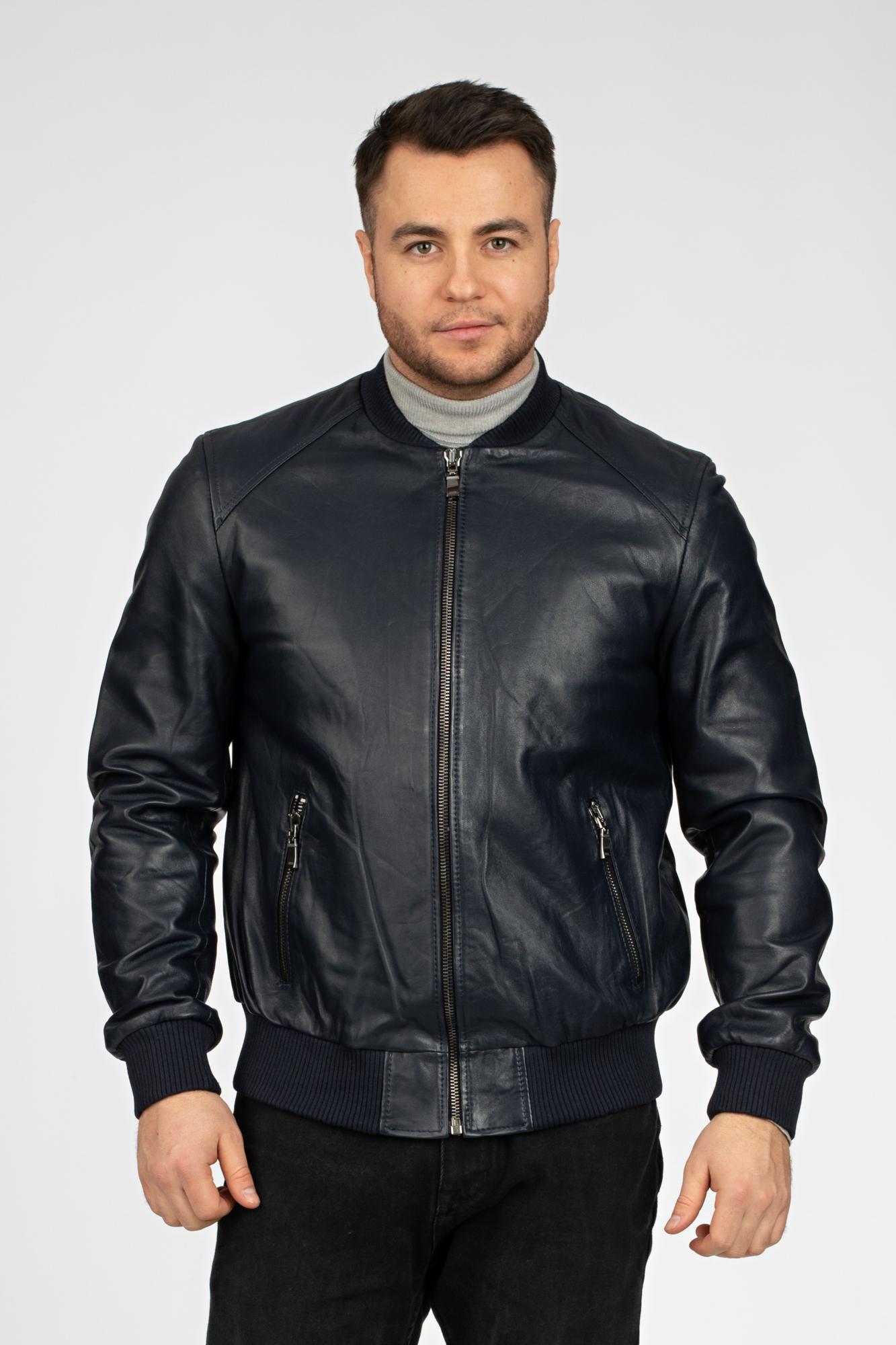 Мужская кожаная куртка из натуральной кожи с воротником