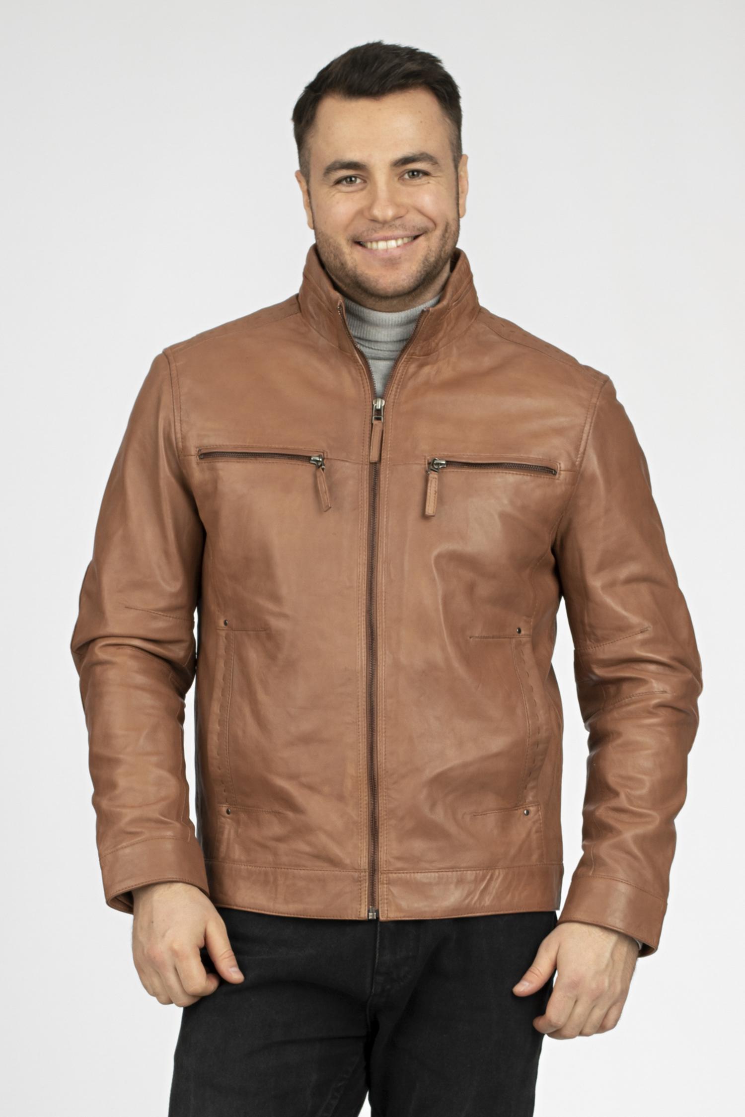 Купить со скидкой Мужская кожаная куртка из натуральной кожи с воротником