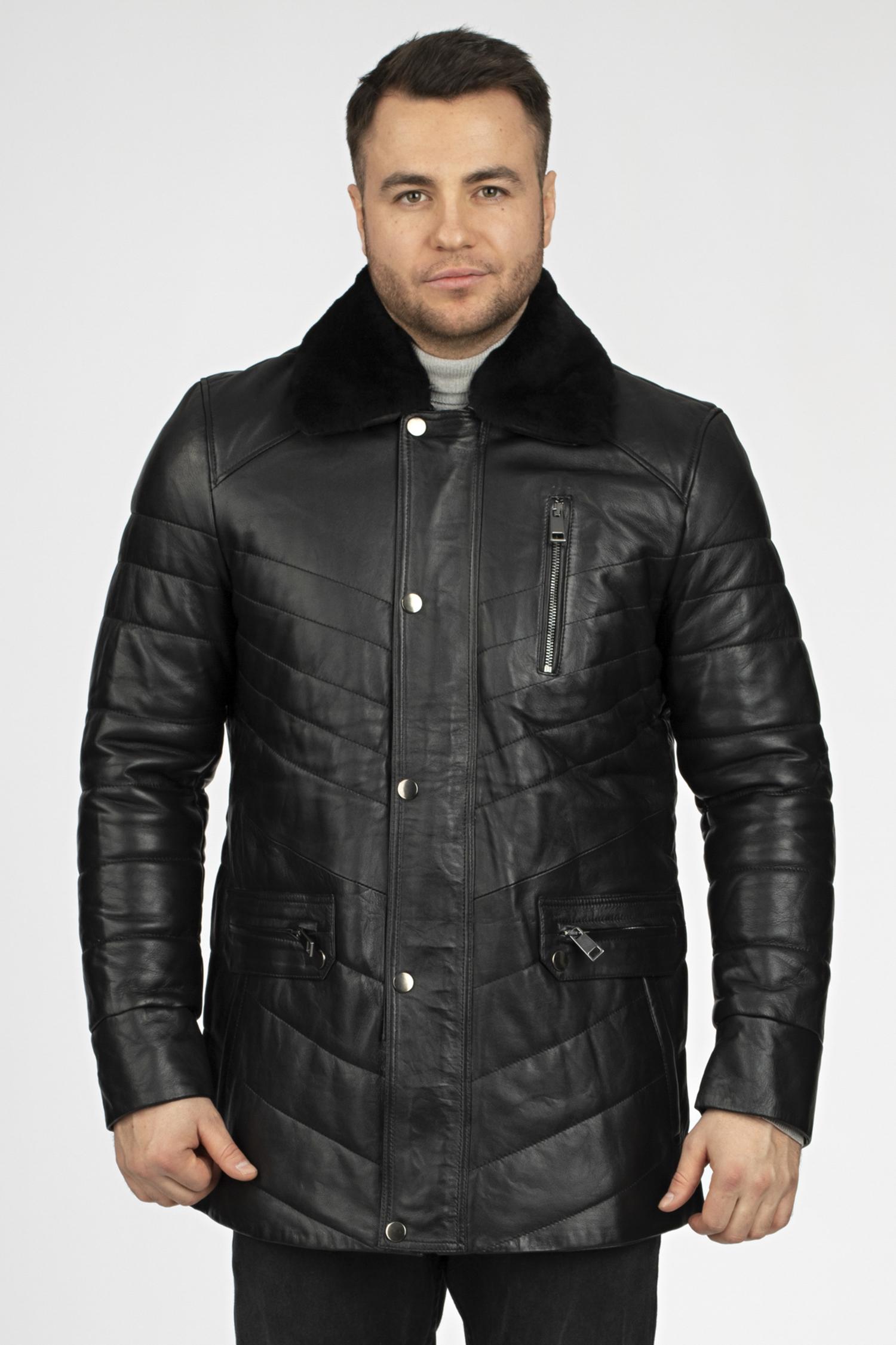 Купить со скидкой Мужская кожаная куртка из натуральной кожи с воротником, отделка овчина