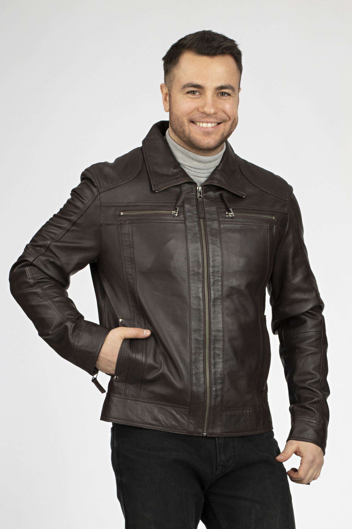 Мужская кожаная куртка из натуральной кожи с воротником, без отделки МОСМЕХА