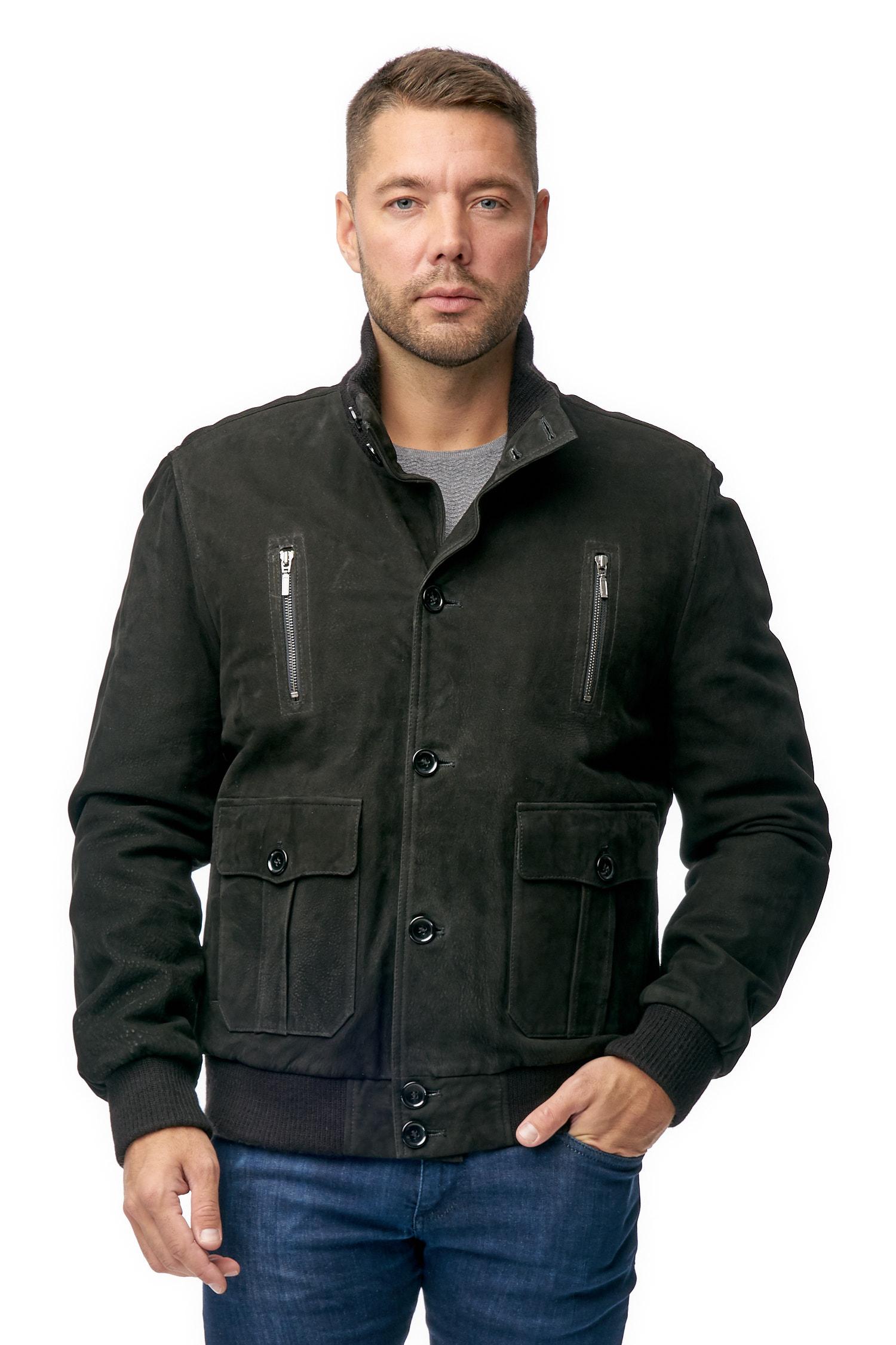 Мужская кожаная куртка из натуральной замши с воротником