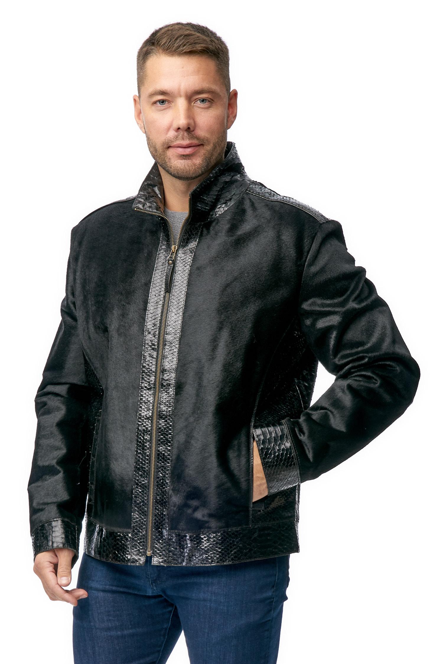 Мужская кожаная куртка из натуральной кожи с воротником, отделка кожа питон МОСМЕХА