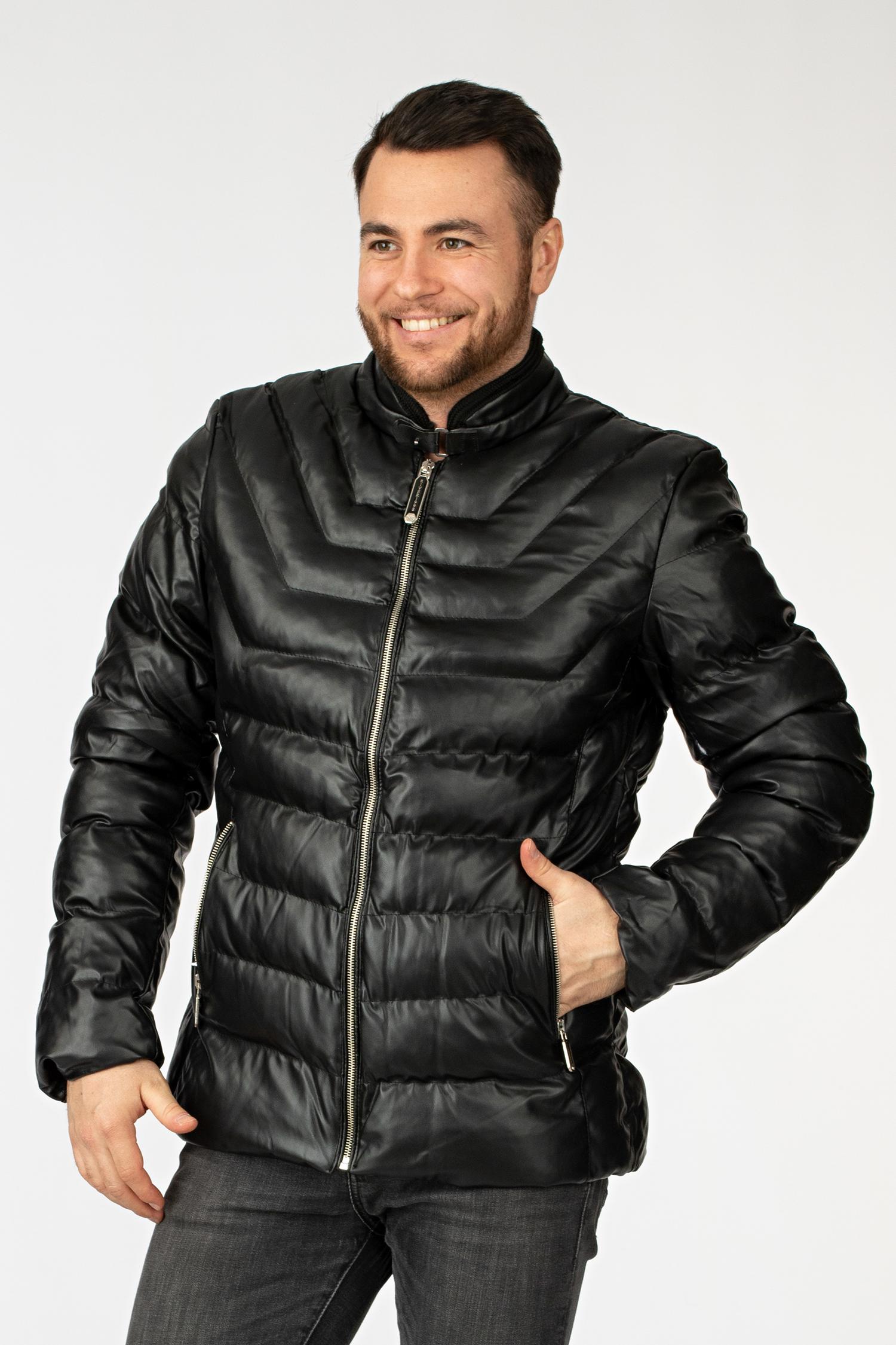 Мужскаякожаная куртка из эко-кожи с воротником, без отделки МОСМЕХА