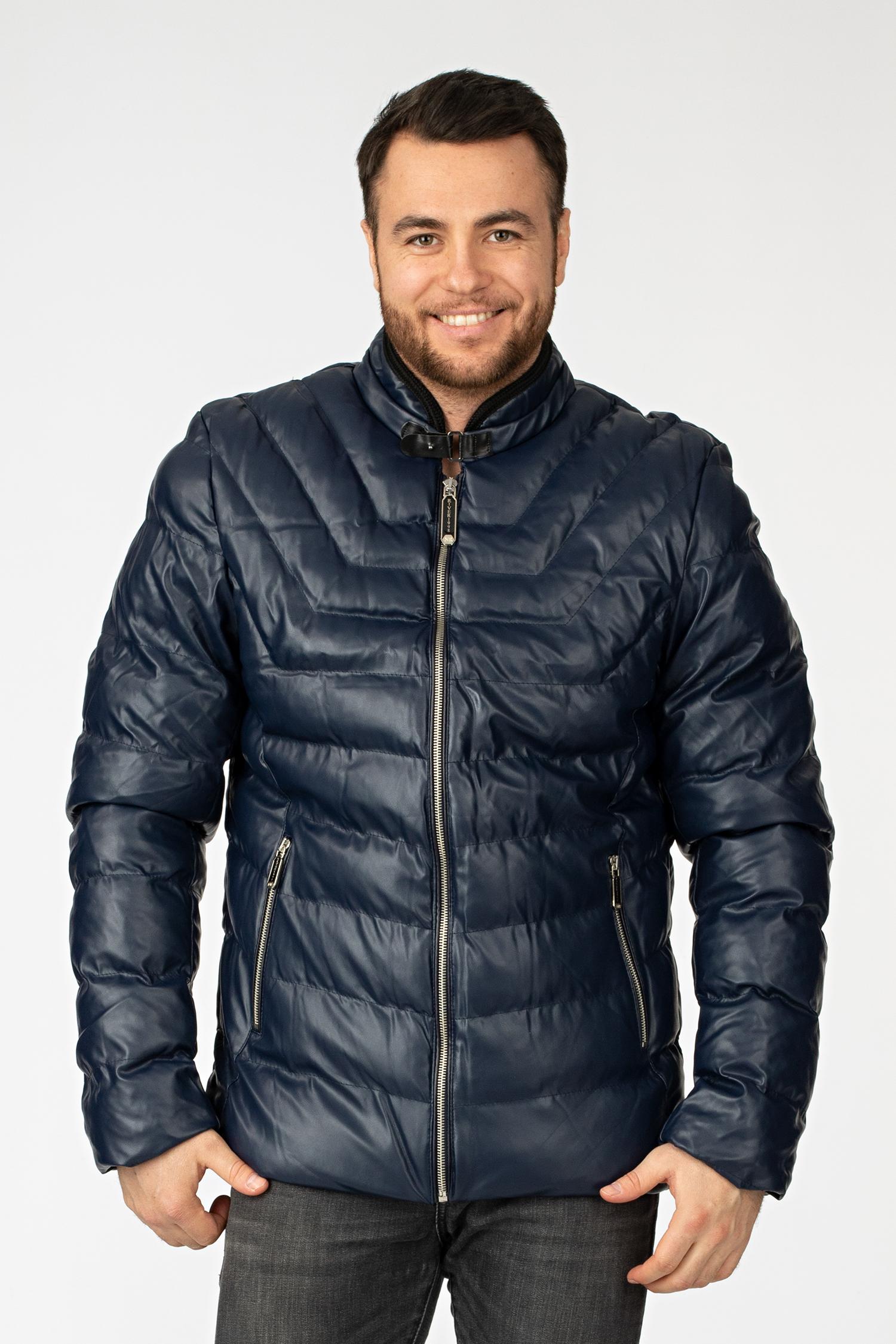 Мужская кожаная куртка из эко-кожи с воротником, без отделки МОСМЕХА