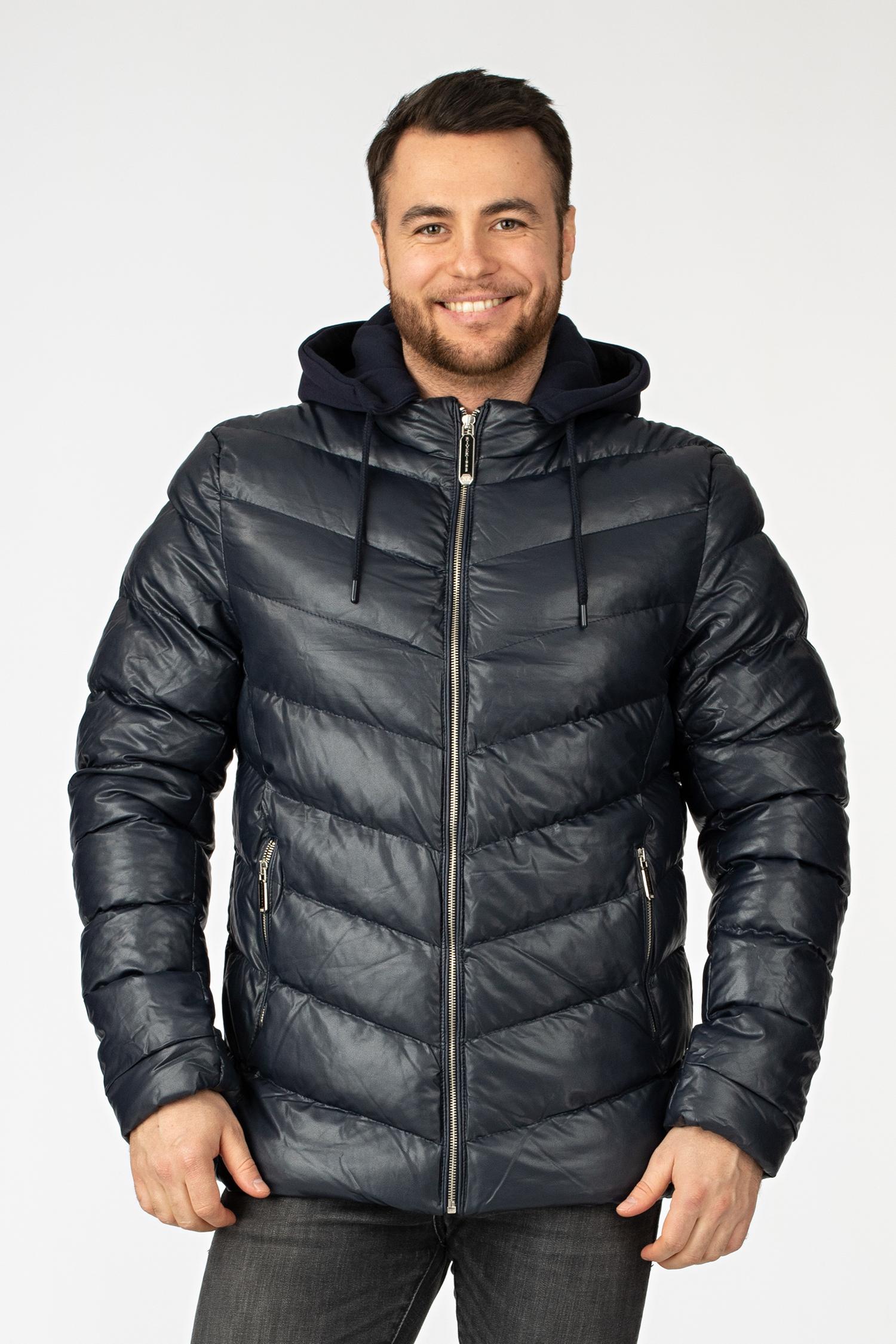 Мужская кожаная куртка из эко-кожи с капюшоном, без отделки МОСМЕХА