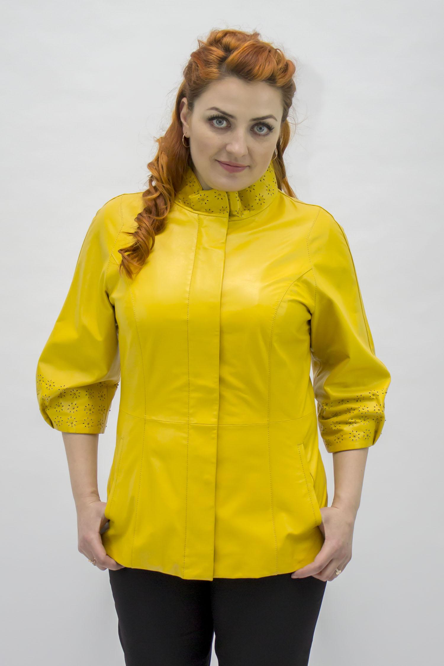 Женская кожаная куртка из натуральной кожи с воротником, без отделки от МОСМЕХА