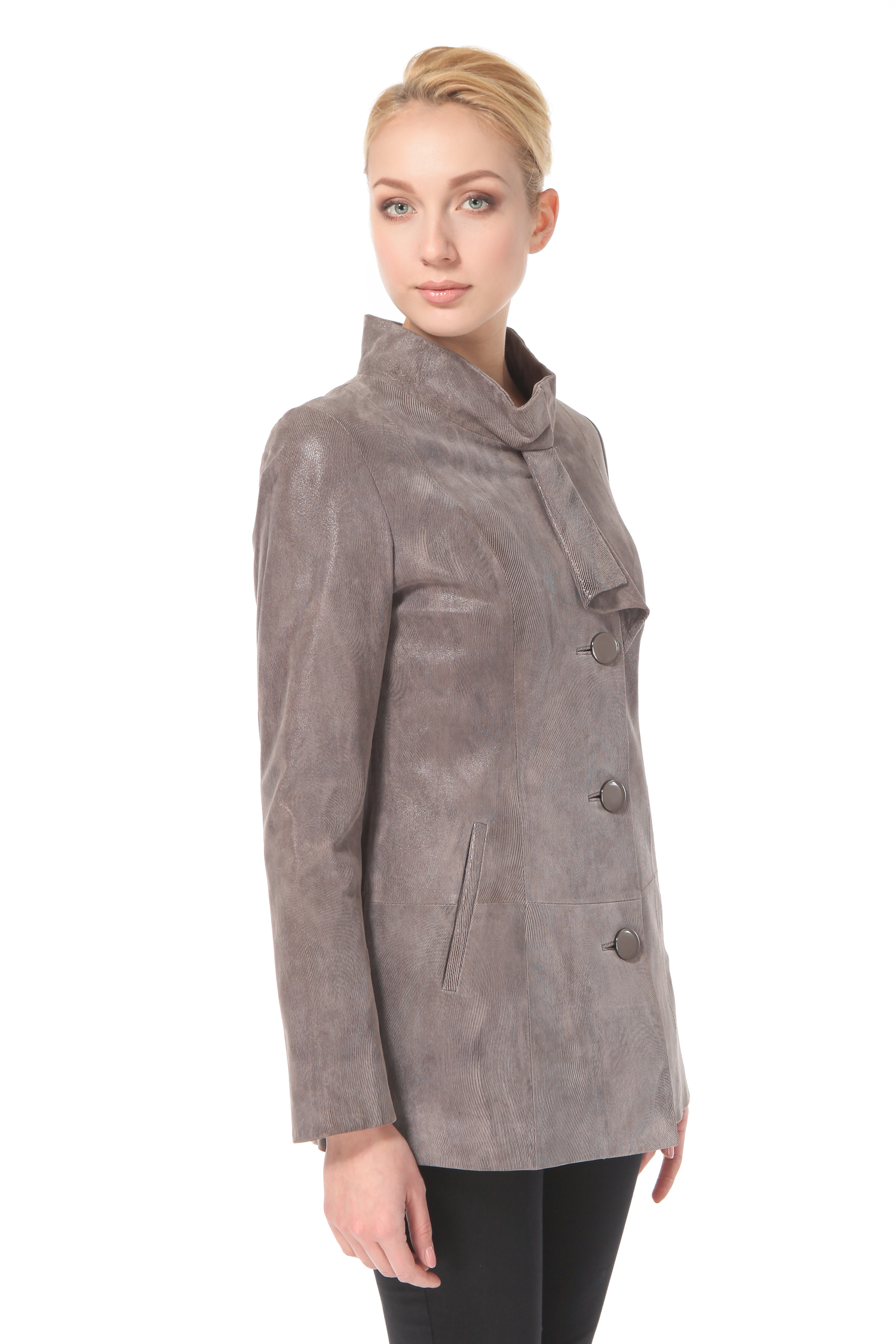 Женская кожаная куртка из натуральной замши (с накатом) с воротником от МОСМЕХА