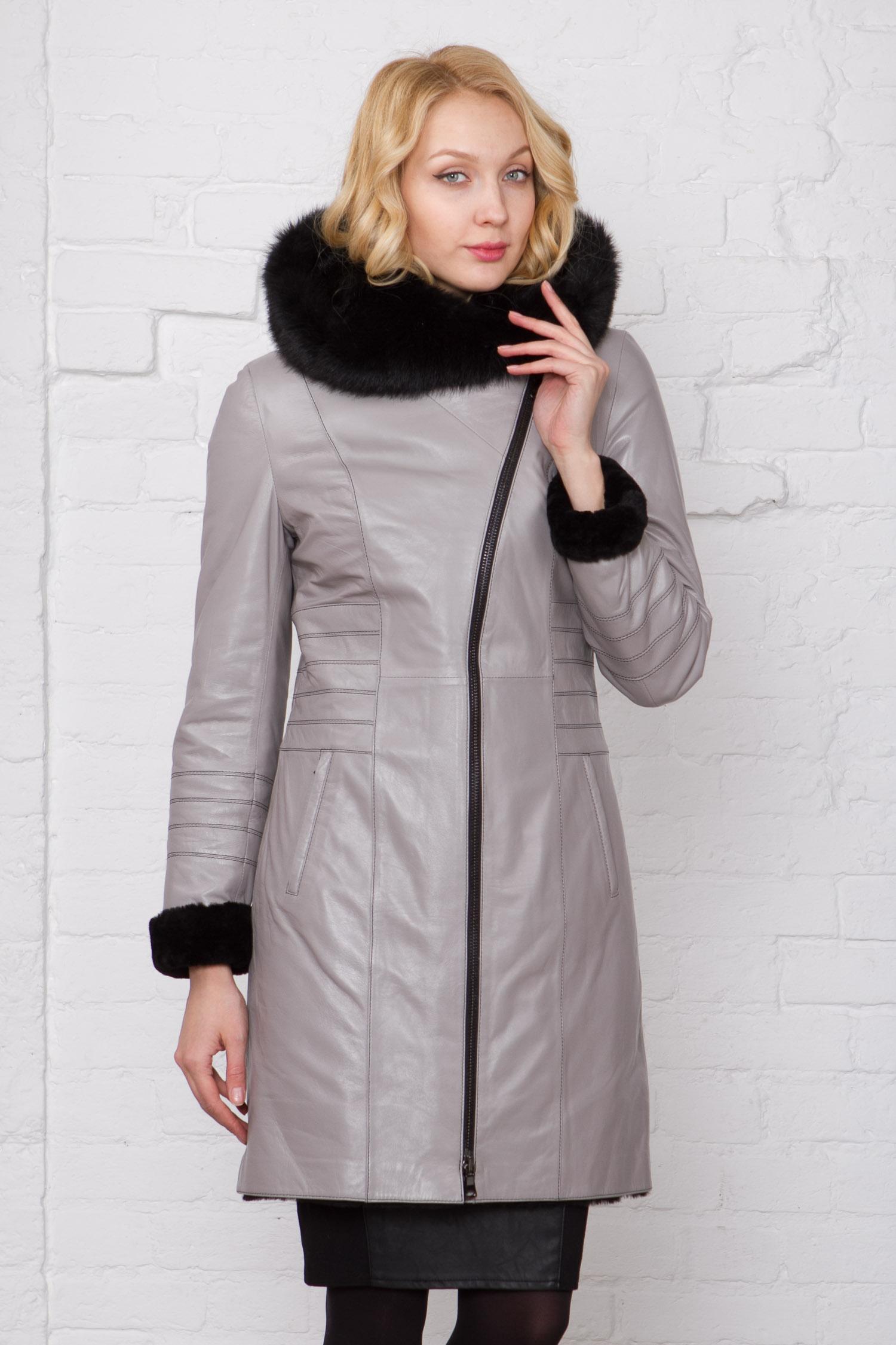 Фото - Женское кожаное пальто из натуральной кожи на меху с капюшоном, отделка тоскана от МОСМЕХА серого цвета