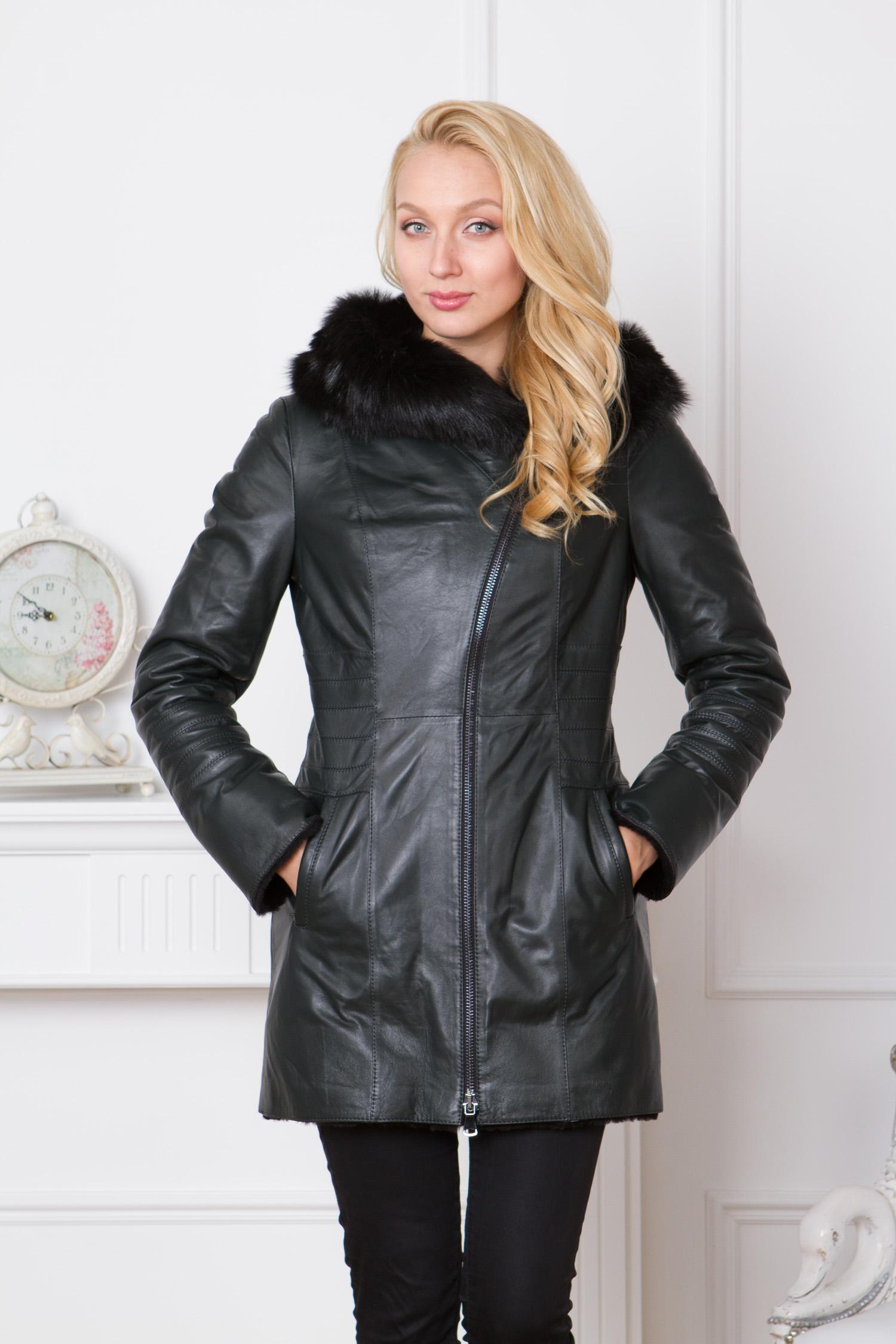 Женская кожаная куртка из натуральной кожи с капюшоном, отделка тоскана от МОСМЕХА