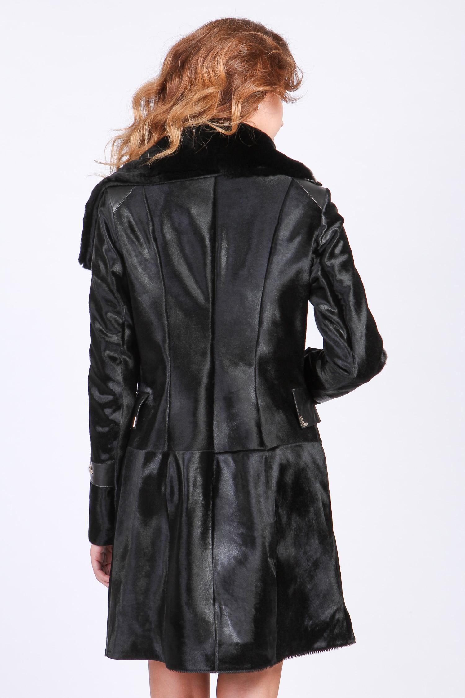 Женское кожаное пальто из натуральной кожи с воротником, отделка кролик