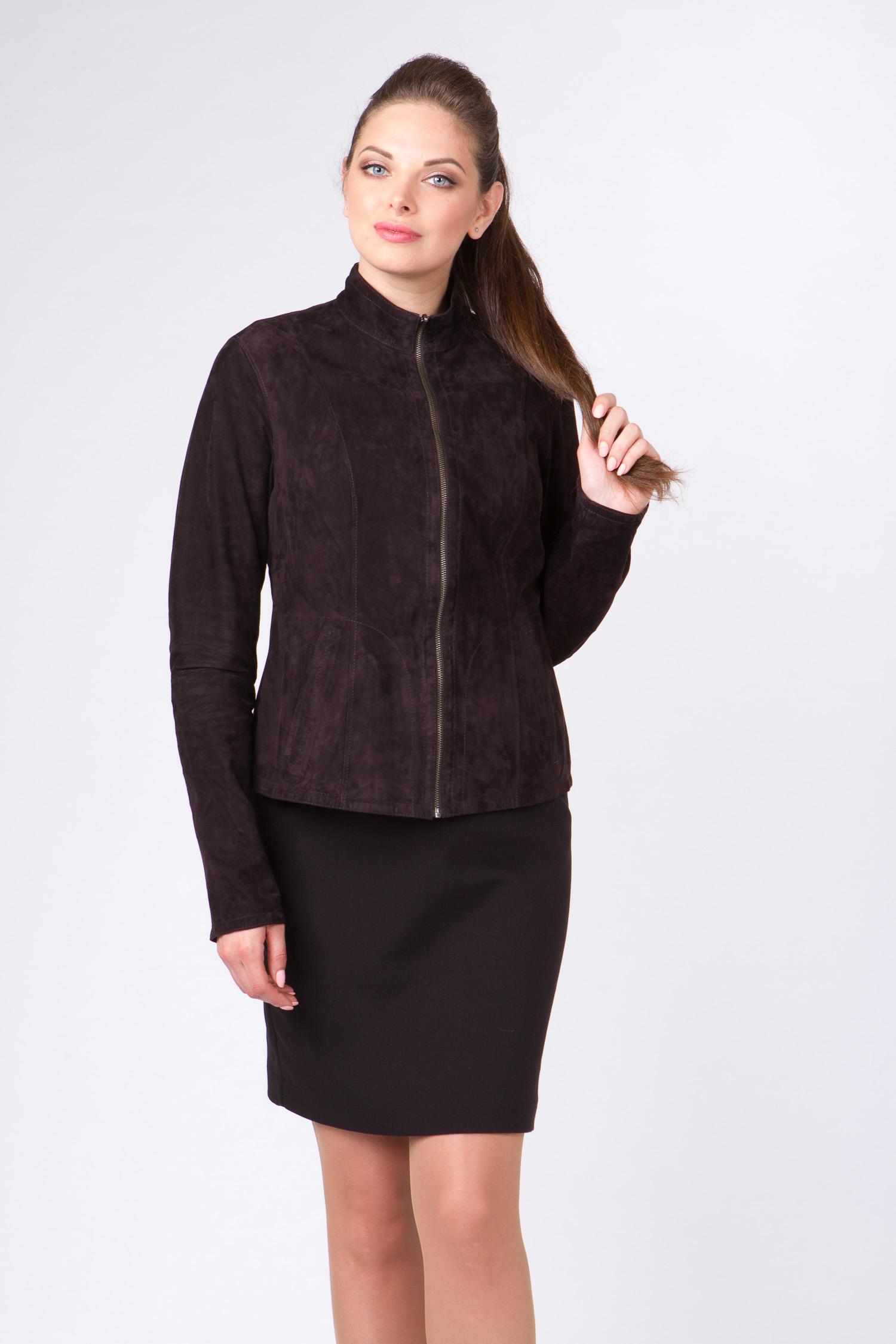 Купить со скидкой Женская кожаная куртка из натуральной кожи с воротником, без отделки