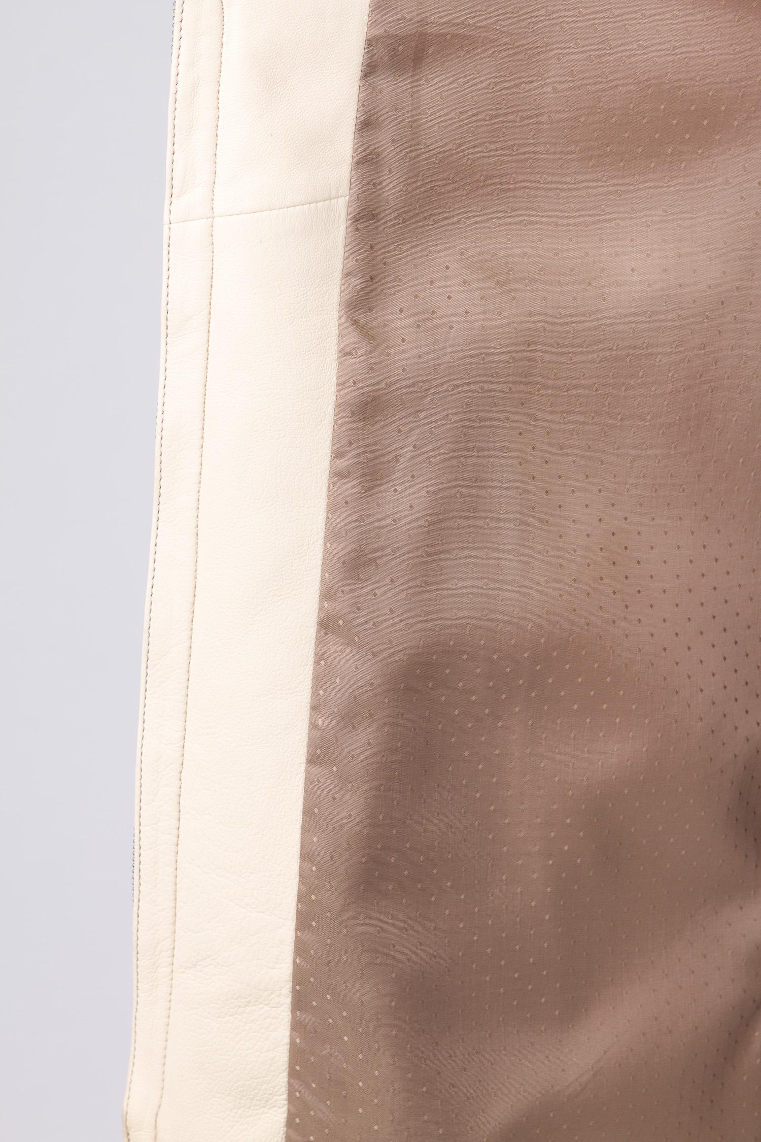 Женская кожаная куртка из натуральной кожи без воротника, отделка енот