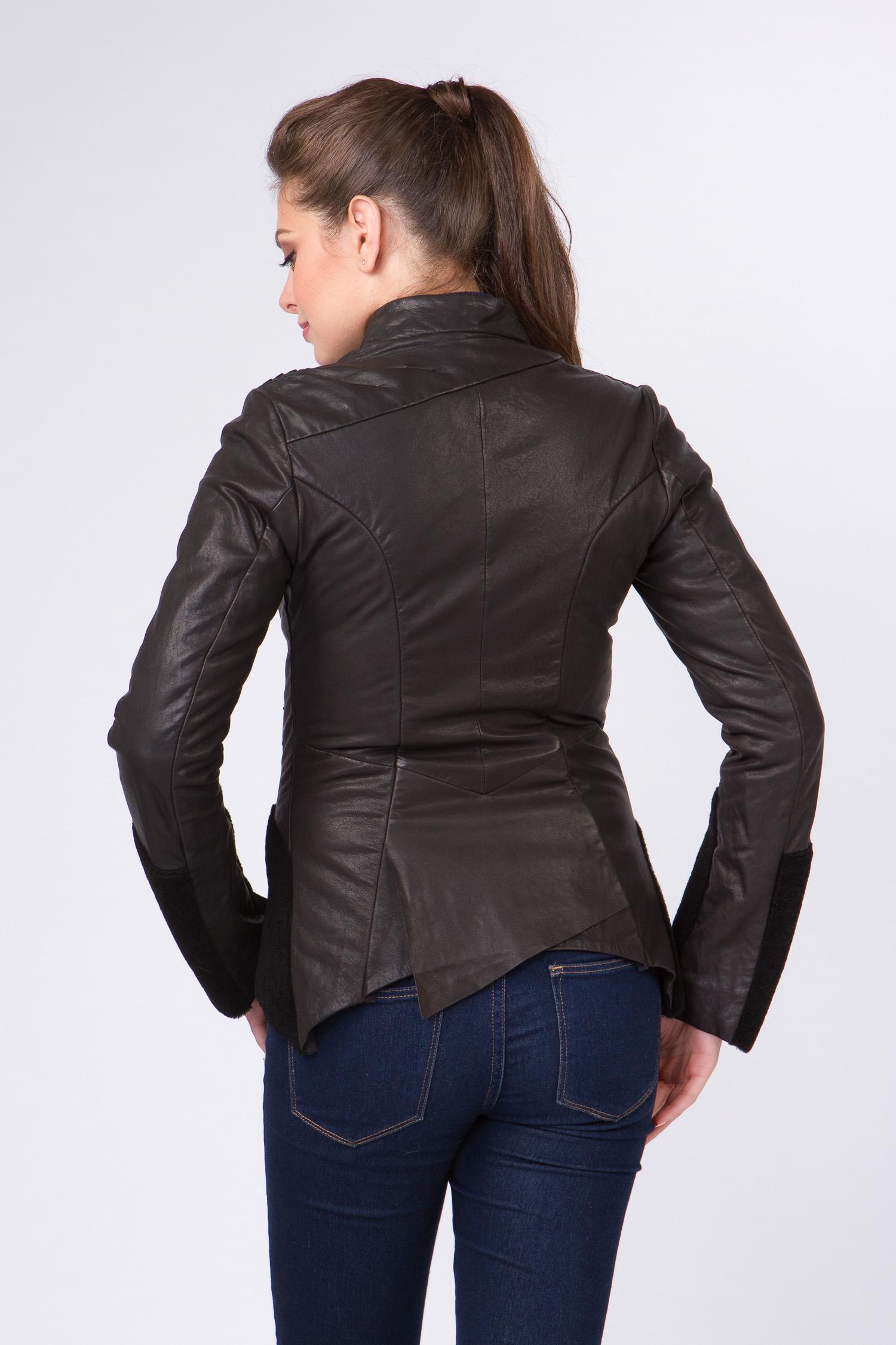 Женская кожаная куртка из натуральной кожи с воротником, отделка овчина