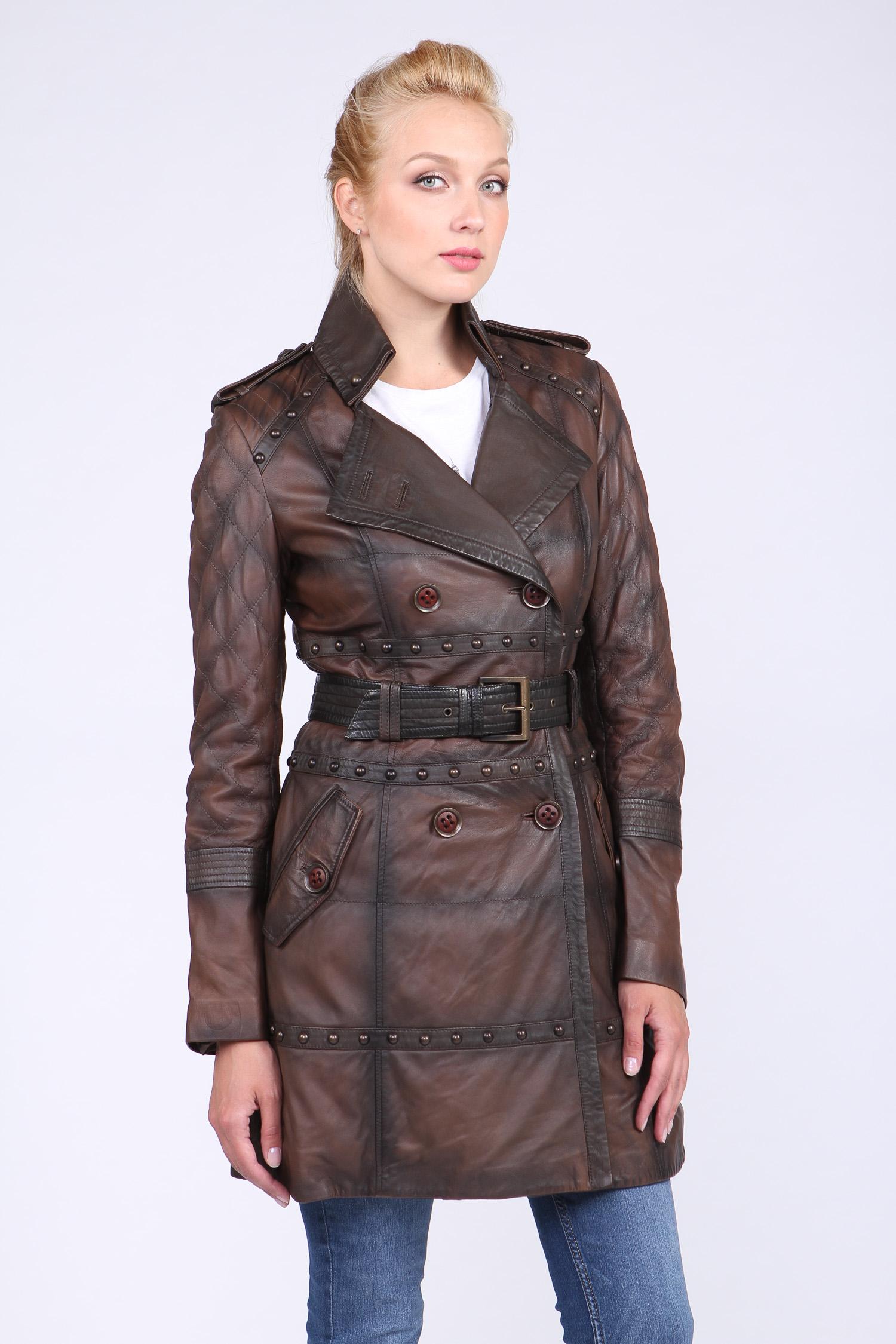 Купить Женская кожаная куртка из натуральной кожи с воротником, без отделки, МОСМЕХА, хаки, Кожа овчина, 0901579