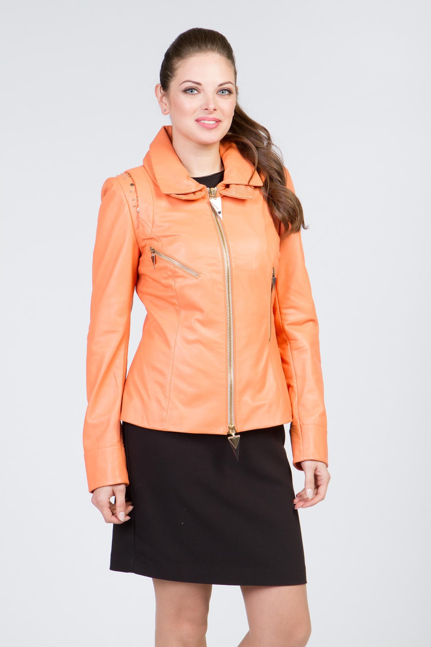 Купить Женская кожаная куртка из натуральной кожи с воротником, без отделки, МОСМЕХА, оранжевый, Кожа овчина, 0901612