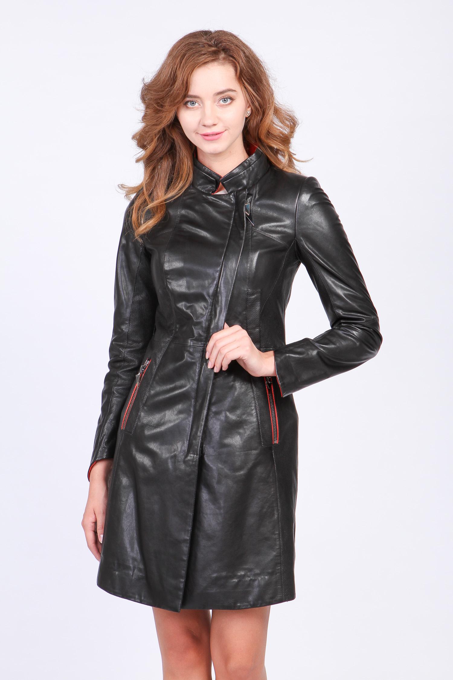 Женское кожаное пальто из натуральной кожи с воротником, без отделки МОСМЕХА
