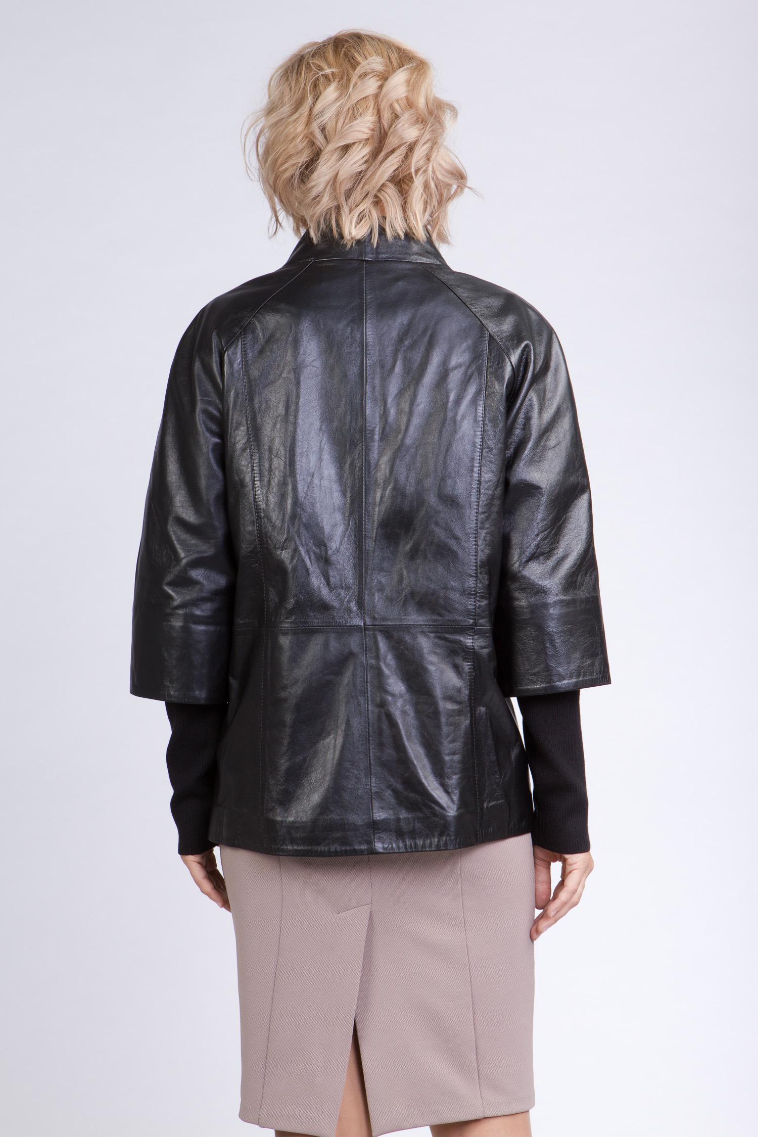 Женская кожаная куртка из натуральной кожи с воротником, без отделки