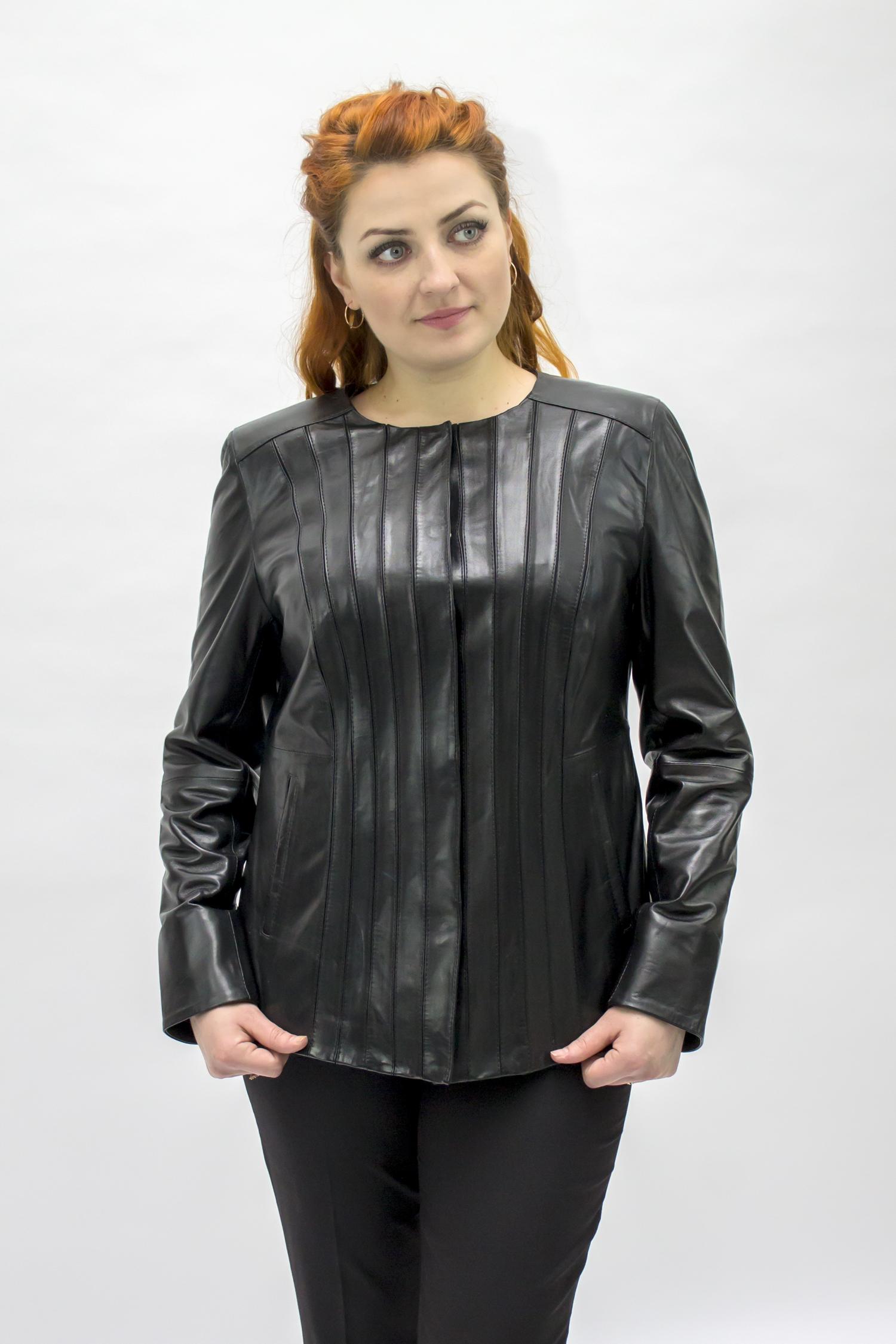 Женская кожаная куртка из натуральной кожи без воротника