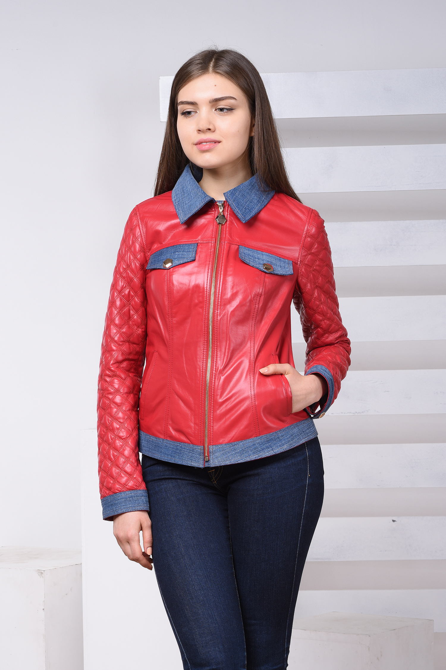 Купить со скидкой Женская кожаная куртка из натуральной кожи с воротником, отделка текстиль