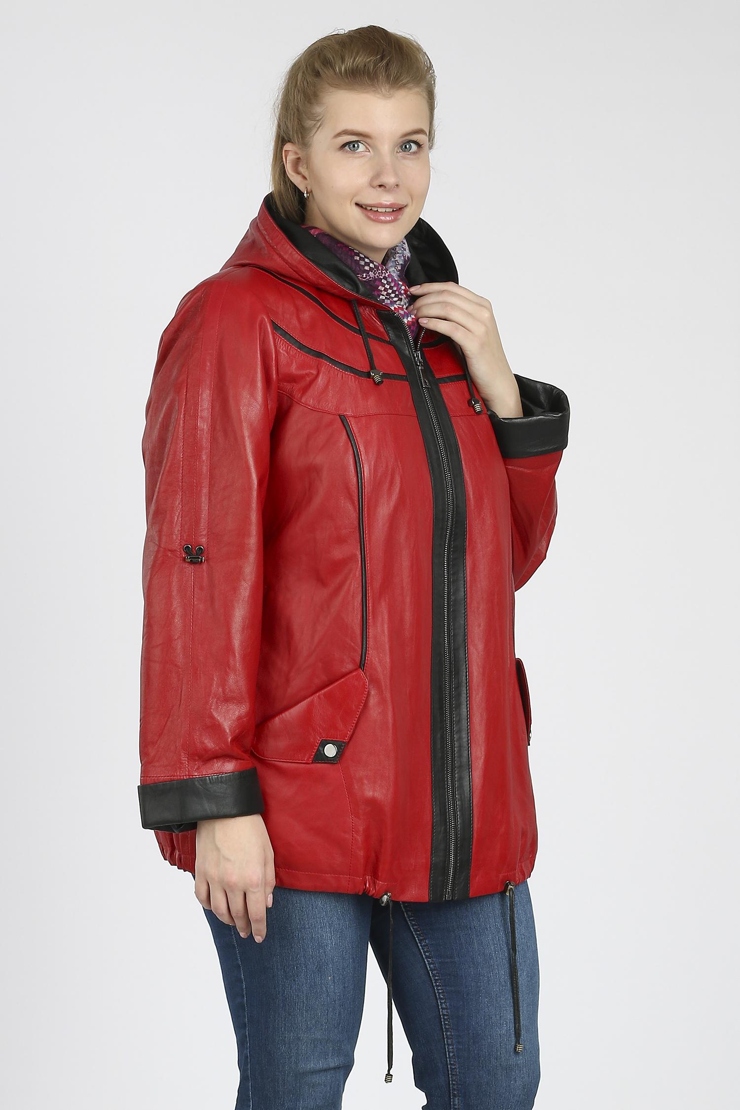Купить со скидкой Женская кожаная куртка из натуральной кожи с капюшоном, без отделки