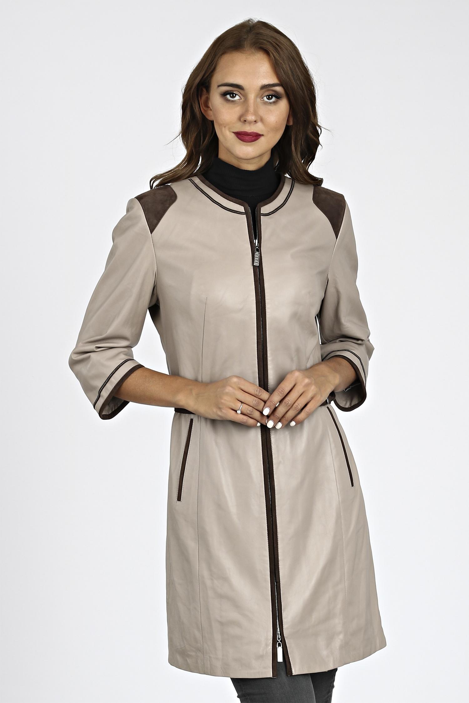 Женское кожаное пальто из натуральной кожи без воротника, без отделки