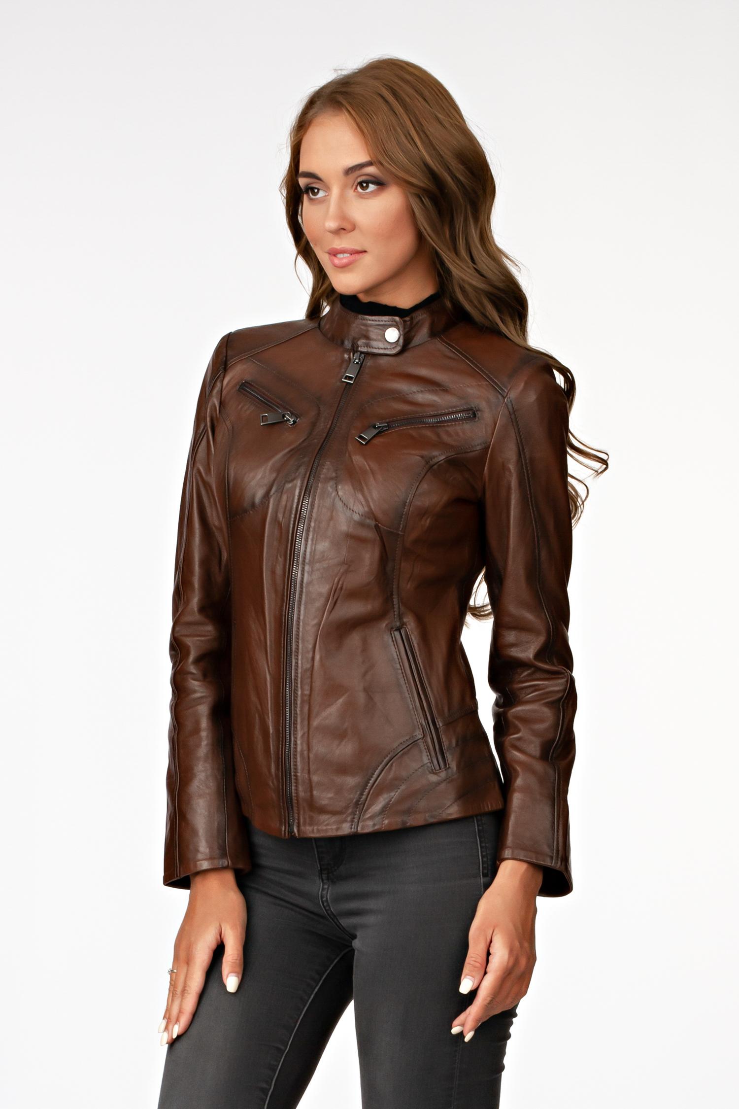Фото #1: Женская кожаная куртка из натуральной кожи с воротником, без отделки