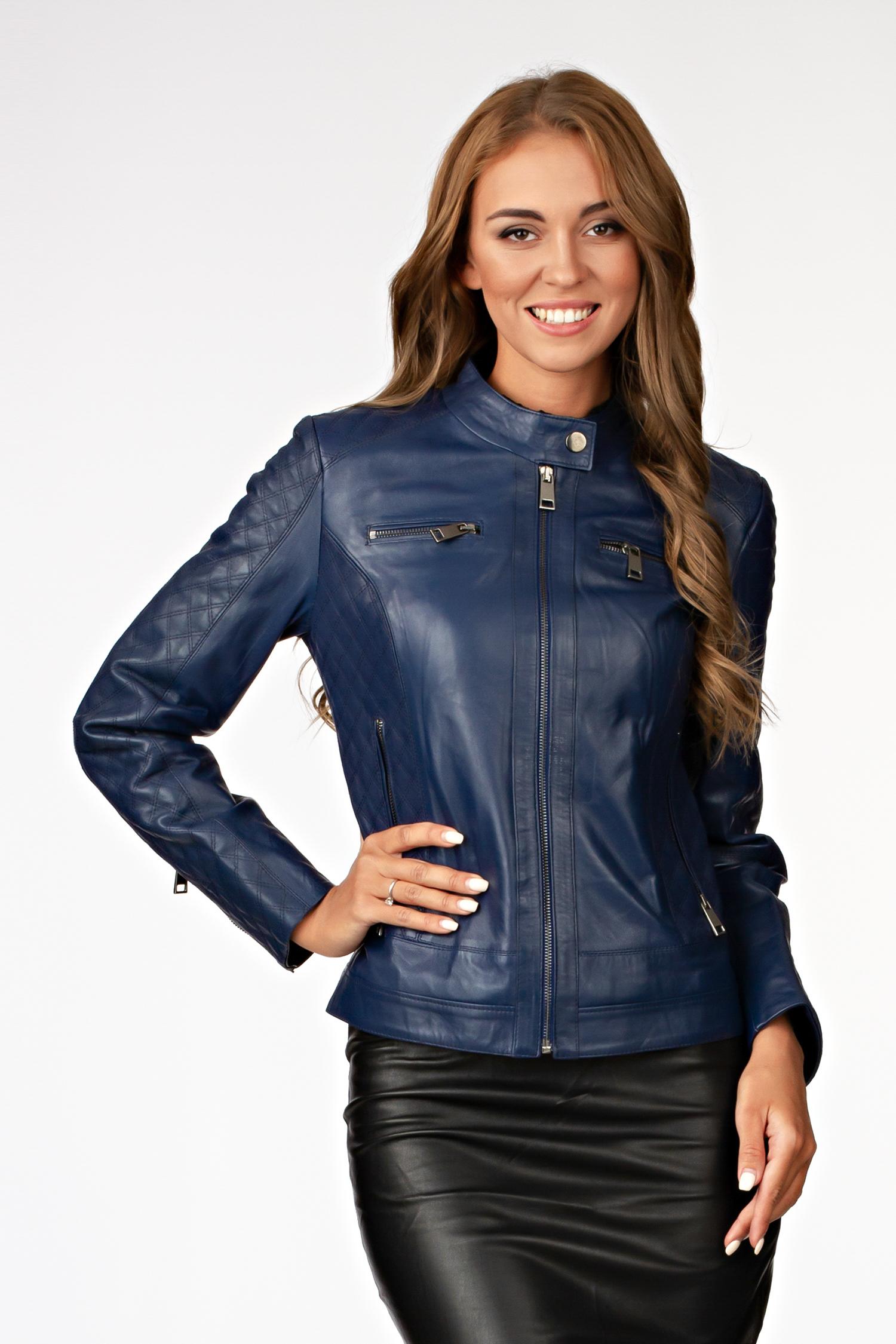 Купить со скидкой Женская кожаная куртка из натуральной кожи с воротником