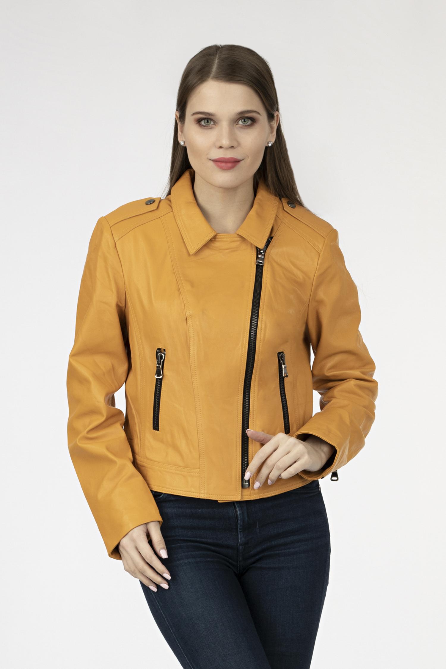 Купить Женская кожаная куртка из натуральной кожи с воротником, без отделки, МОСМЕХА, желтый, Кожа овчина, 0902399