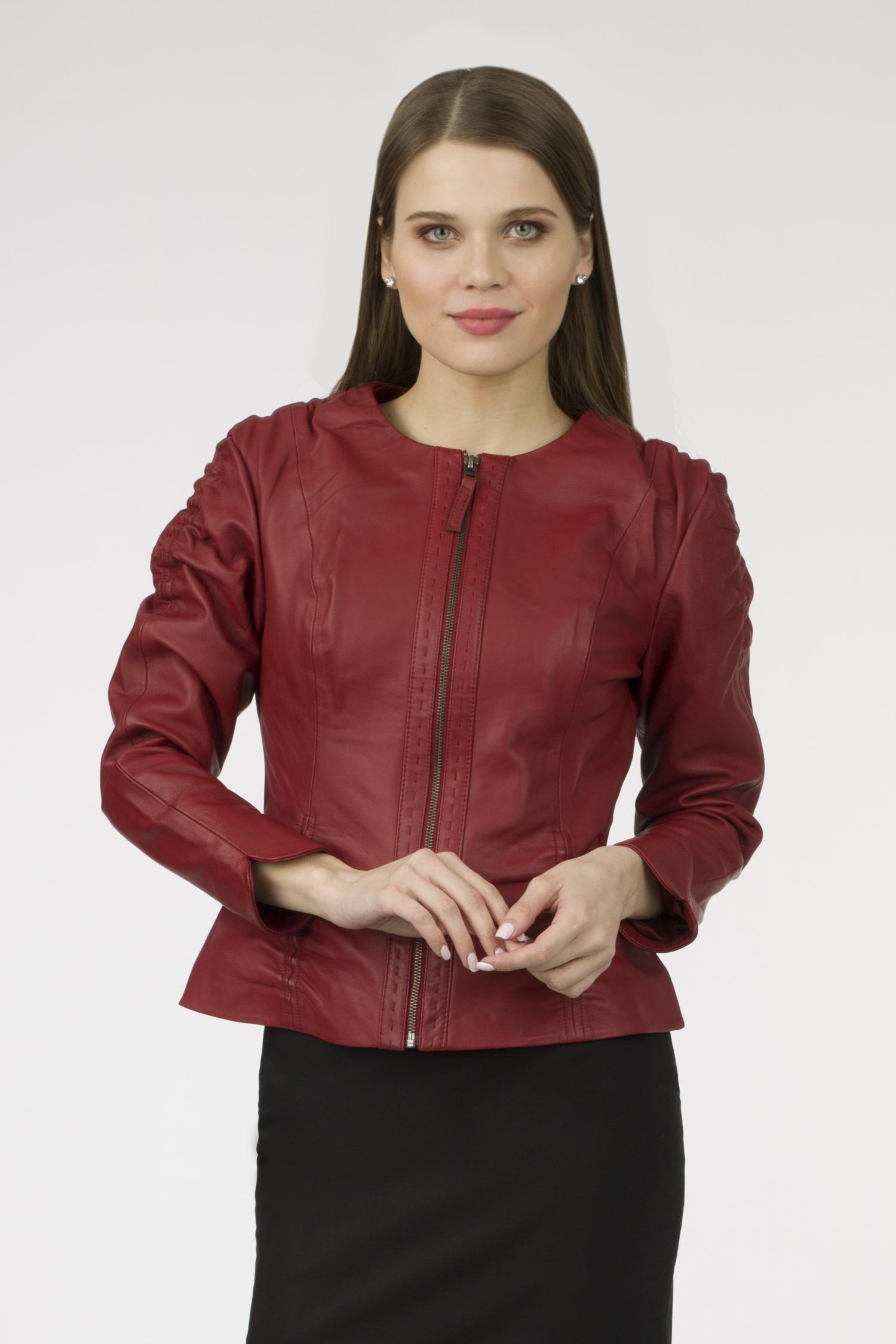 Купить со скидкой Женская кожаная куртка из натуральной кожи без воротника