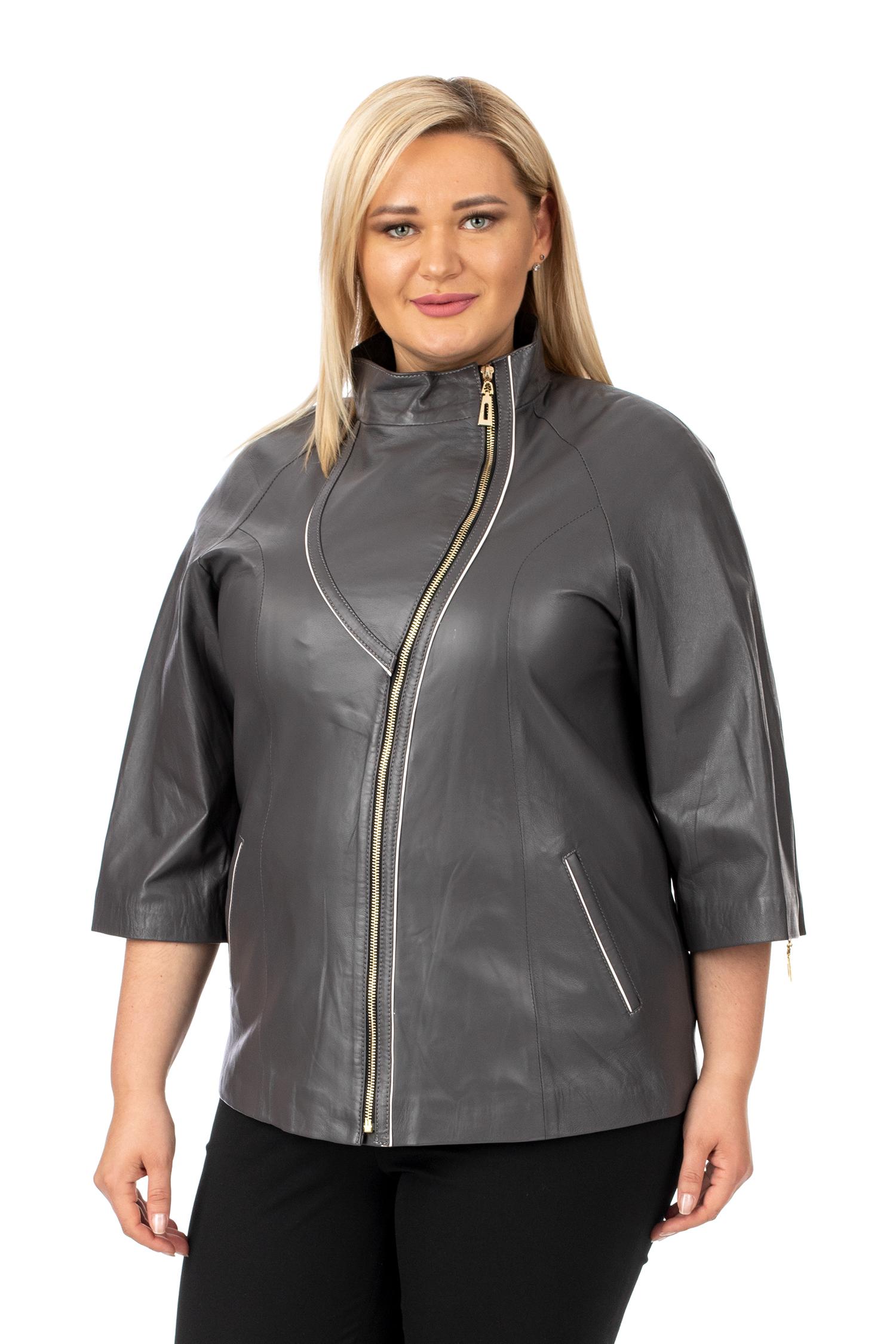 Фото - Женская кожаная куртка из натуральной кожи с воротником от МОСМЕХА серого цвета