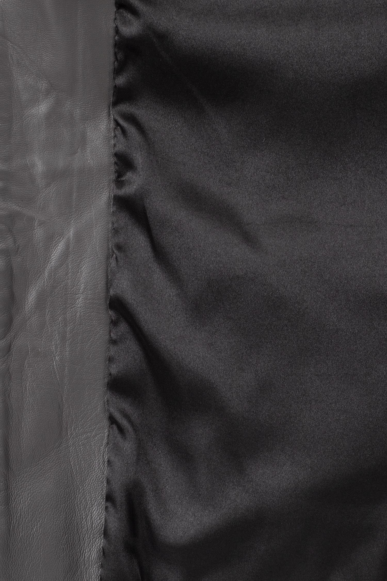 Фото 4 - Женская кожаная куртка из натуральной кожи с воротником от МОСМЕХА серого цвета