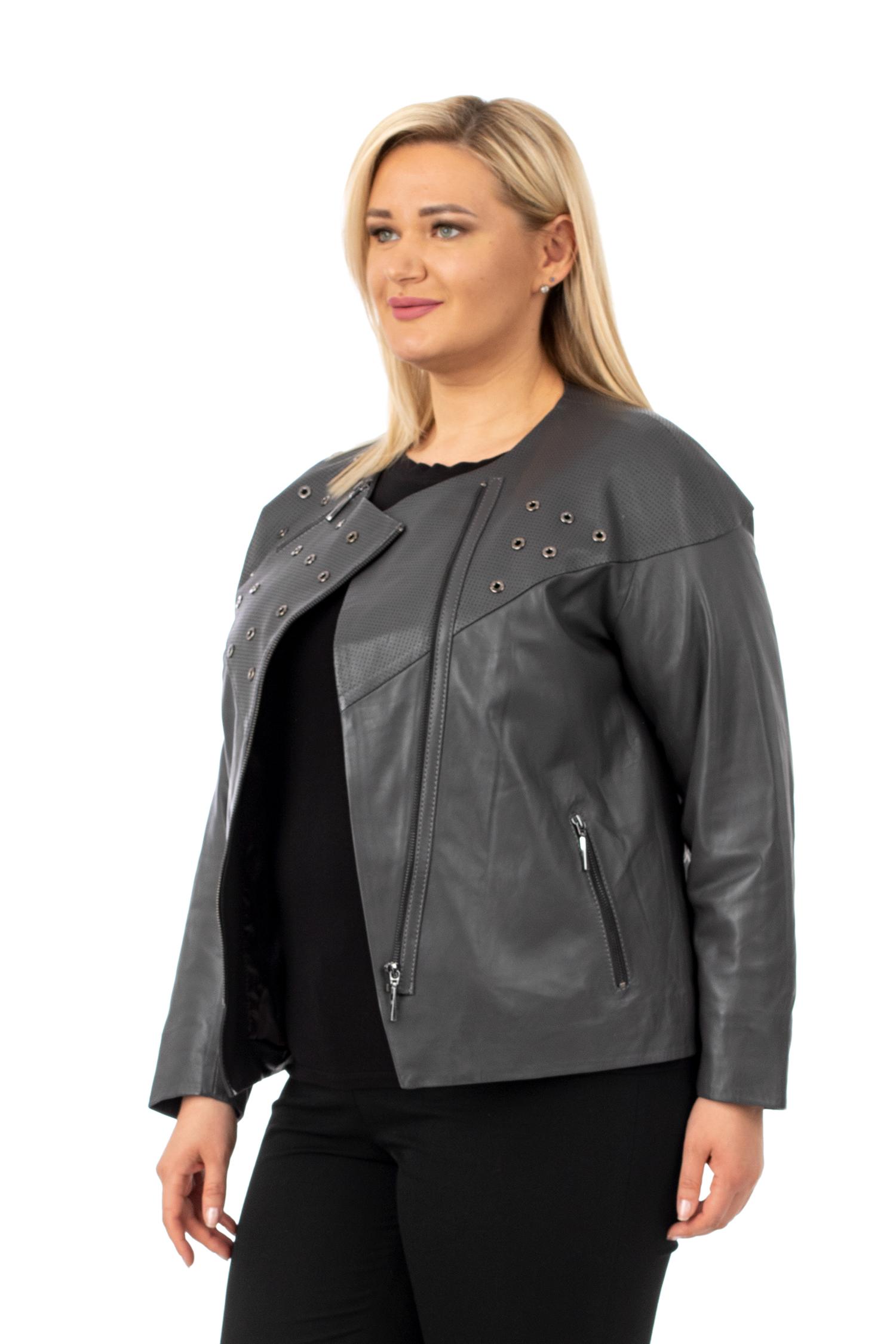 Фото - Женская кожаная куртка из натуральной кожи без воротника от МОСМЕХА серого цвета