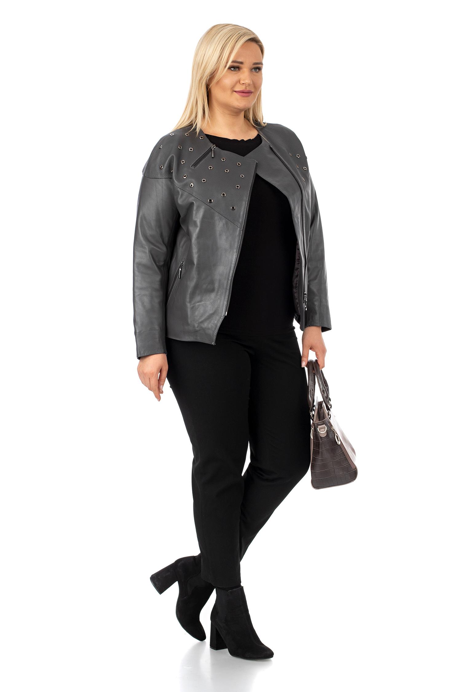 Фото 2 - Женская кожаная куртка из натуральной кожи без воротника от МОСМЕХА серого цвета