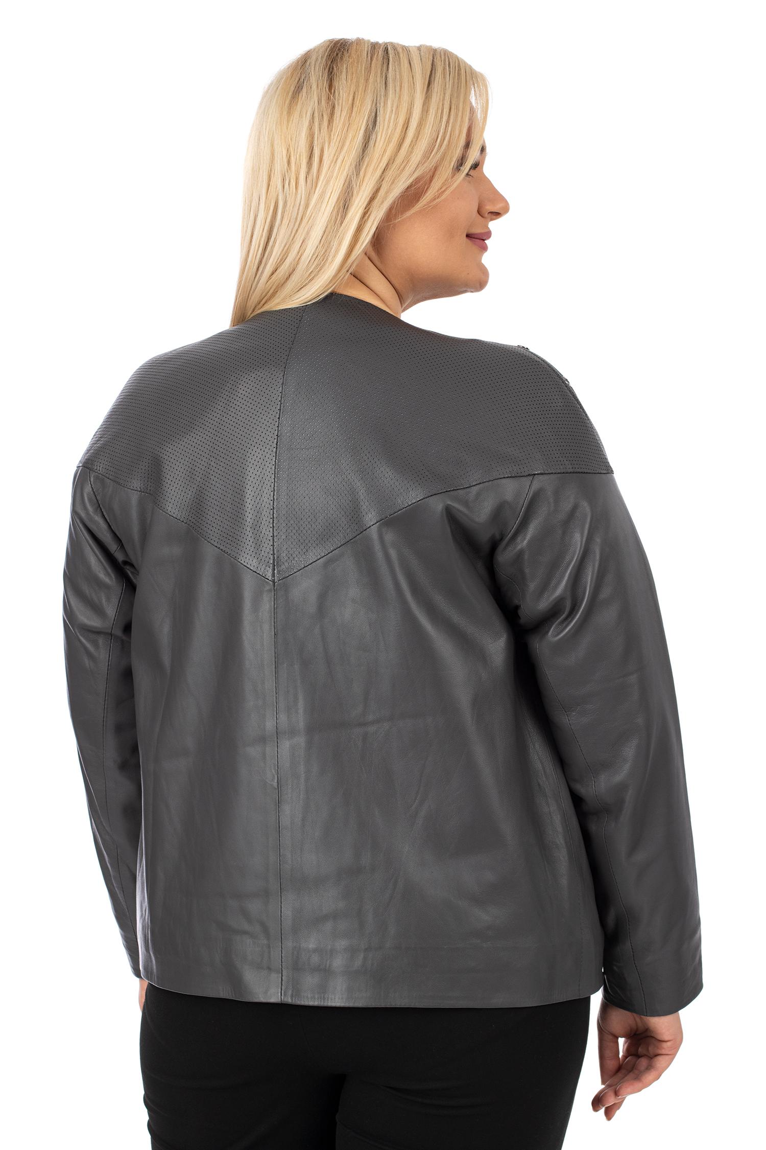Фото 3 - Женская кожаная куртка из натуральной кожи без воротника от МОСМЕХА серого цвета
