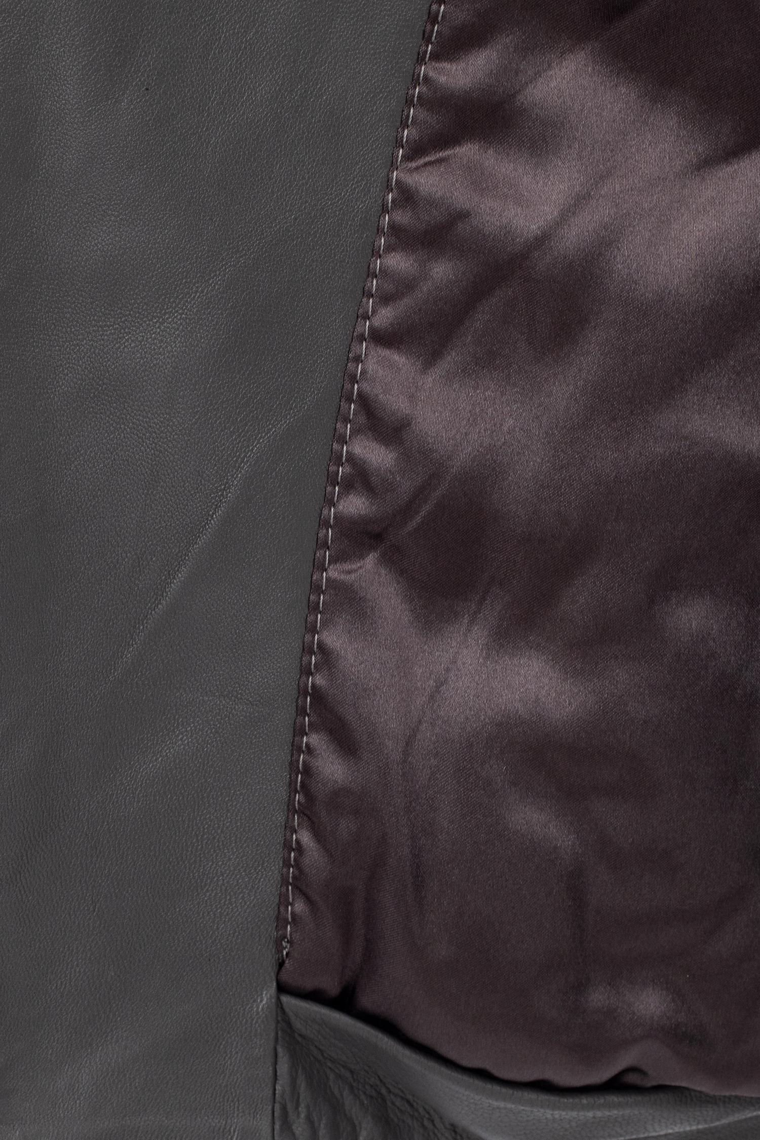 Фото 4 - Женская кожаная куртка из натуральной кожи без воротника от МОСМЕХА серого цвета