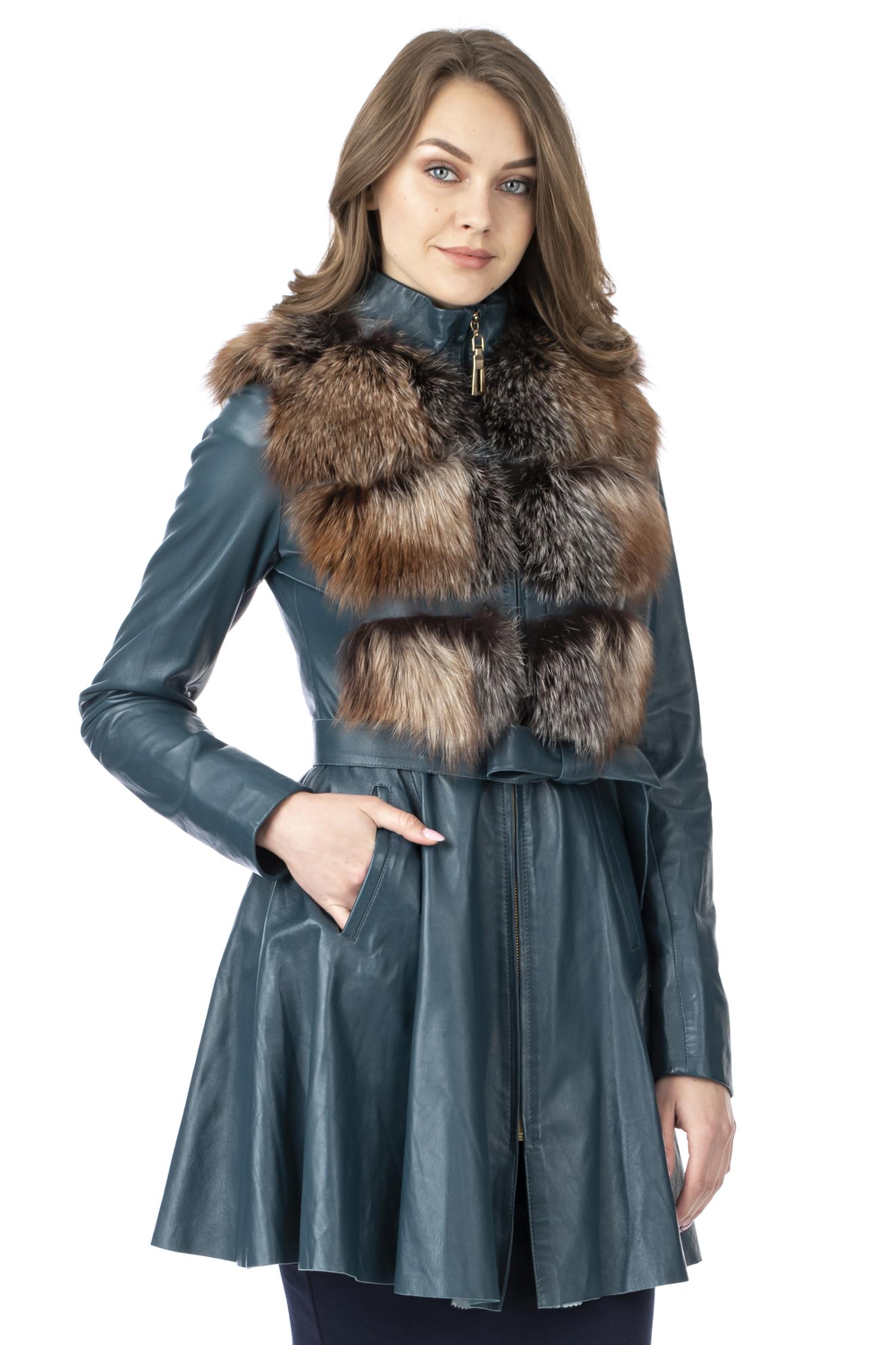 МОСМЕХА женское кожаное пальто с отделкой мехом кролика и поясом