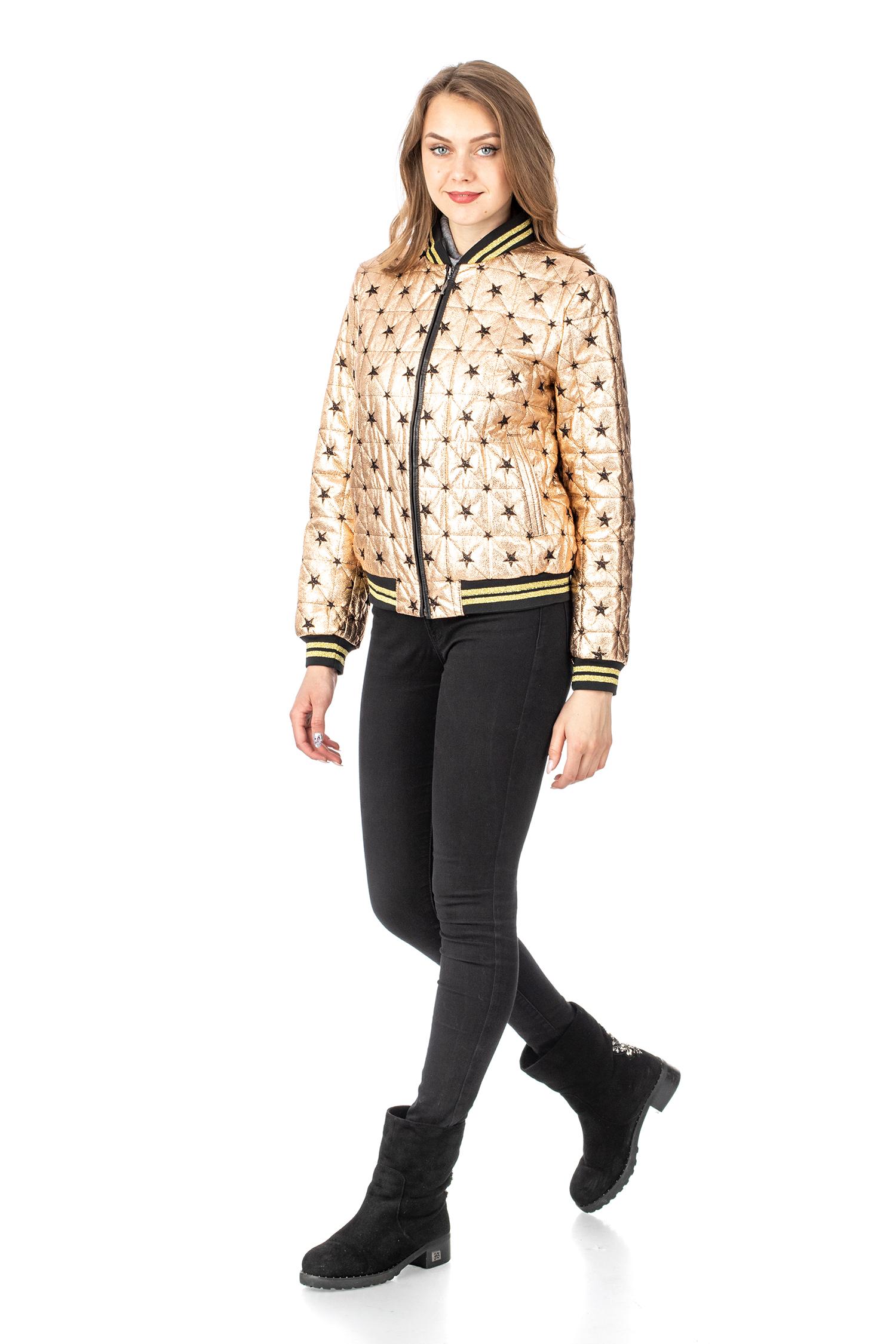 Фото 2 - Женская кожаная куртка из натуральной кожи с воротником от МОСМЕХА золотого цвета