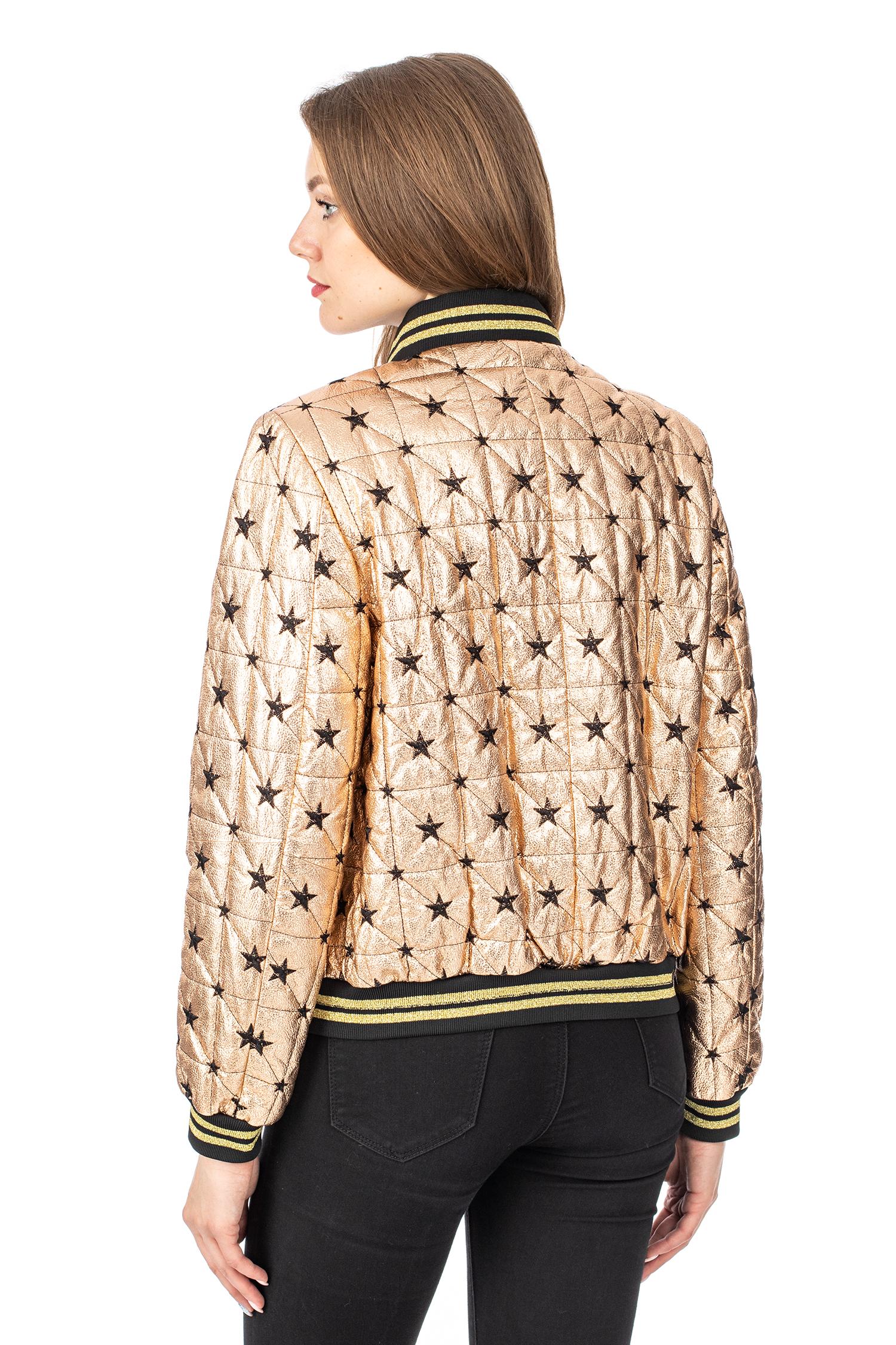 Фото 3 - Женская кожаная куртка из натуральной кожи с воротником от МОСМЕХА золотого цвета