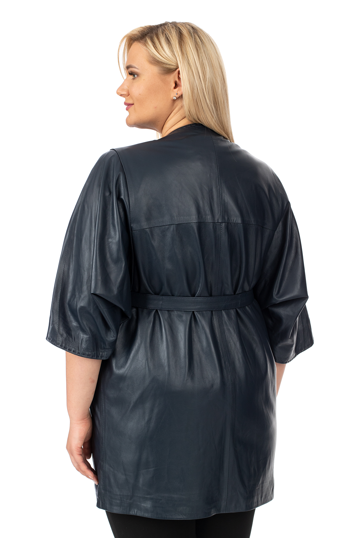 Фото 3 - Женское кожаное пальто из натуральной кожи без воротника от МОСМЕХА синего цвета