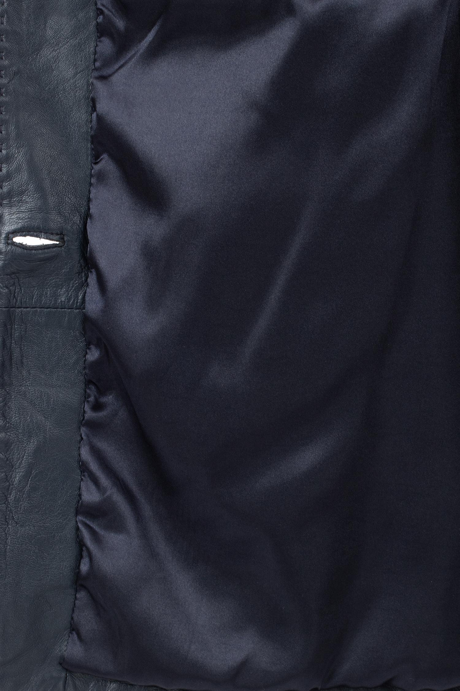 Фото 4 - Женское кожаное пальто из натуральной кожи без воротника от МОСМЕХА синего цвета