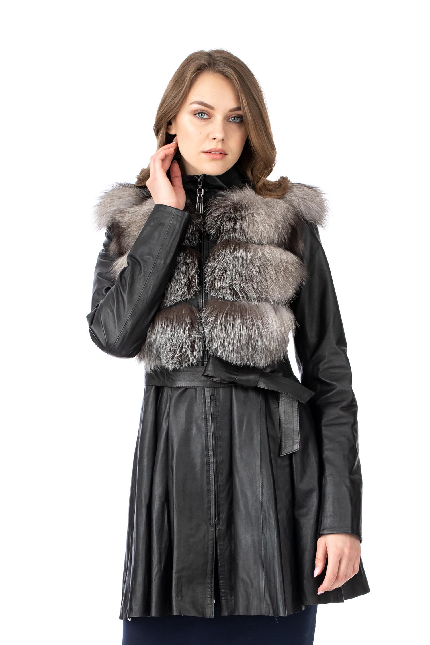Купить со скидкой Женское кожаное пальто из натуральной кожи с воротником, отделка лиса